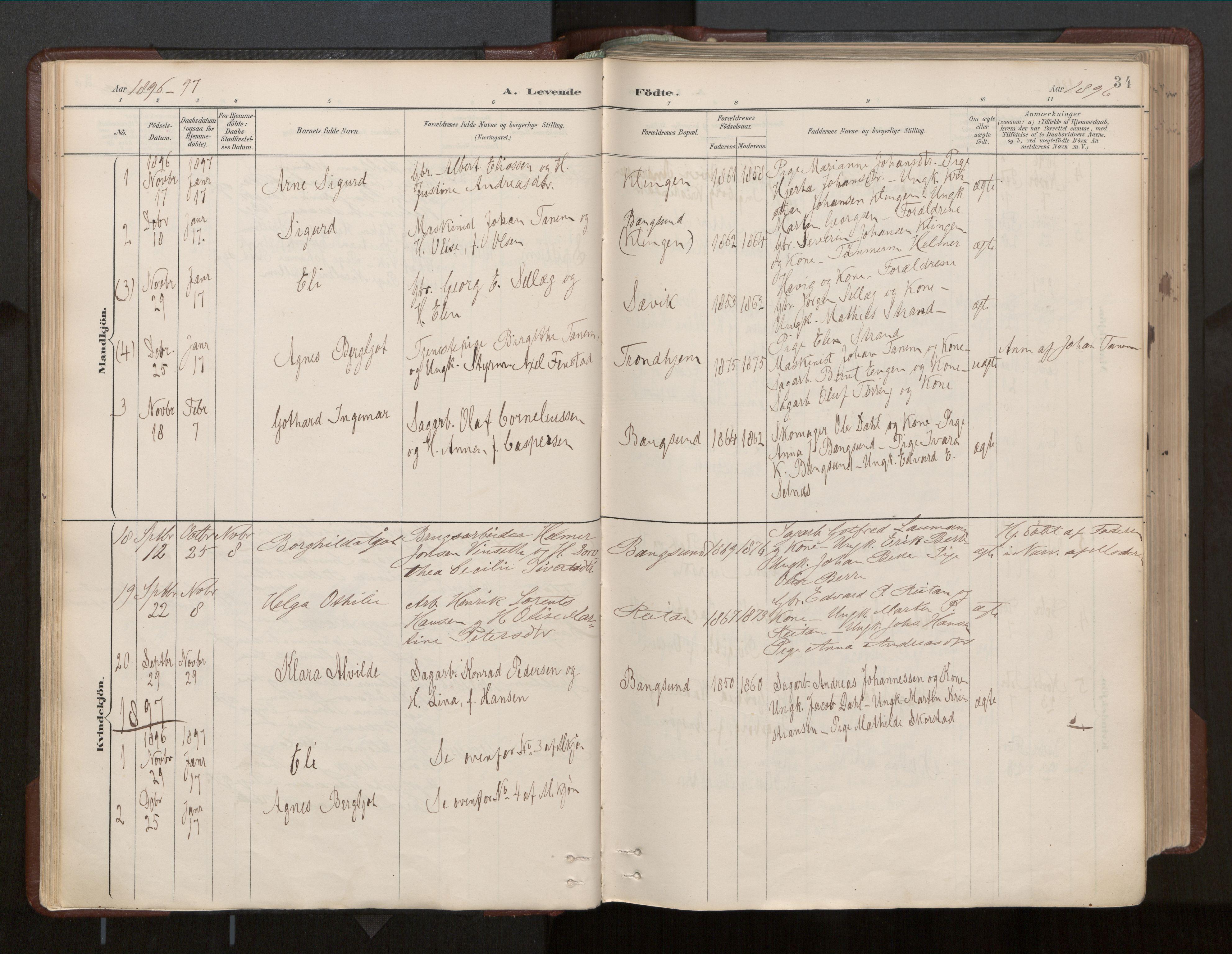 SAT, Ministerialprotokoller, klokkerbøker og fødselsregistre - Nord-Trøndelag, 770/L0589: Ministerialbok nr. 770A03, 1887-1929, s. 34