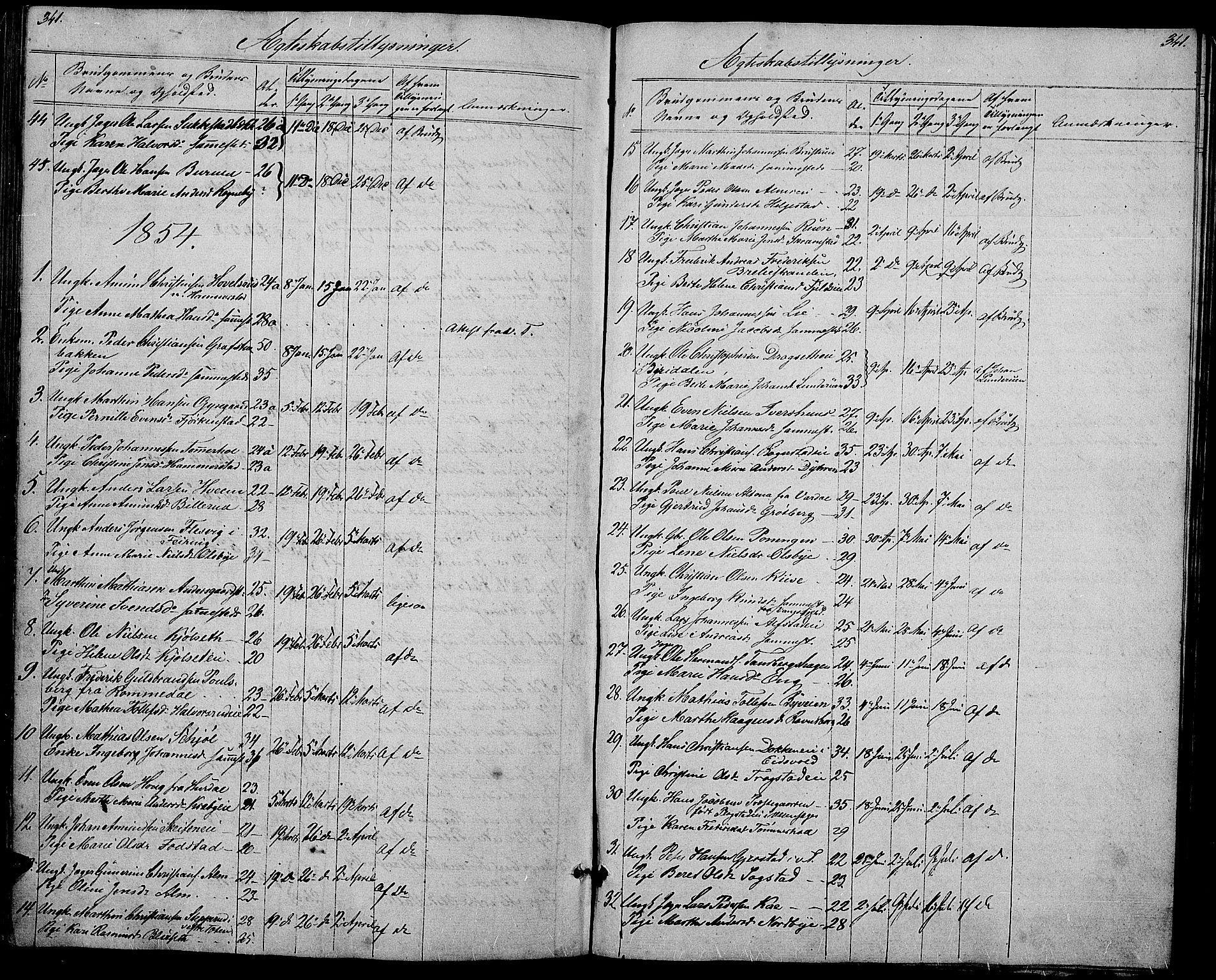 SAH, Østre Toten prestekontor, Klokkerbok nr. 3, 1848-1857, s. 341
