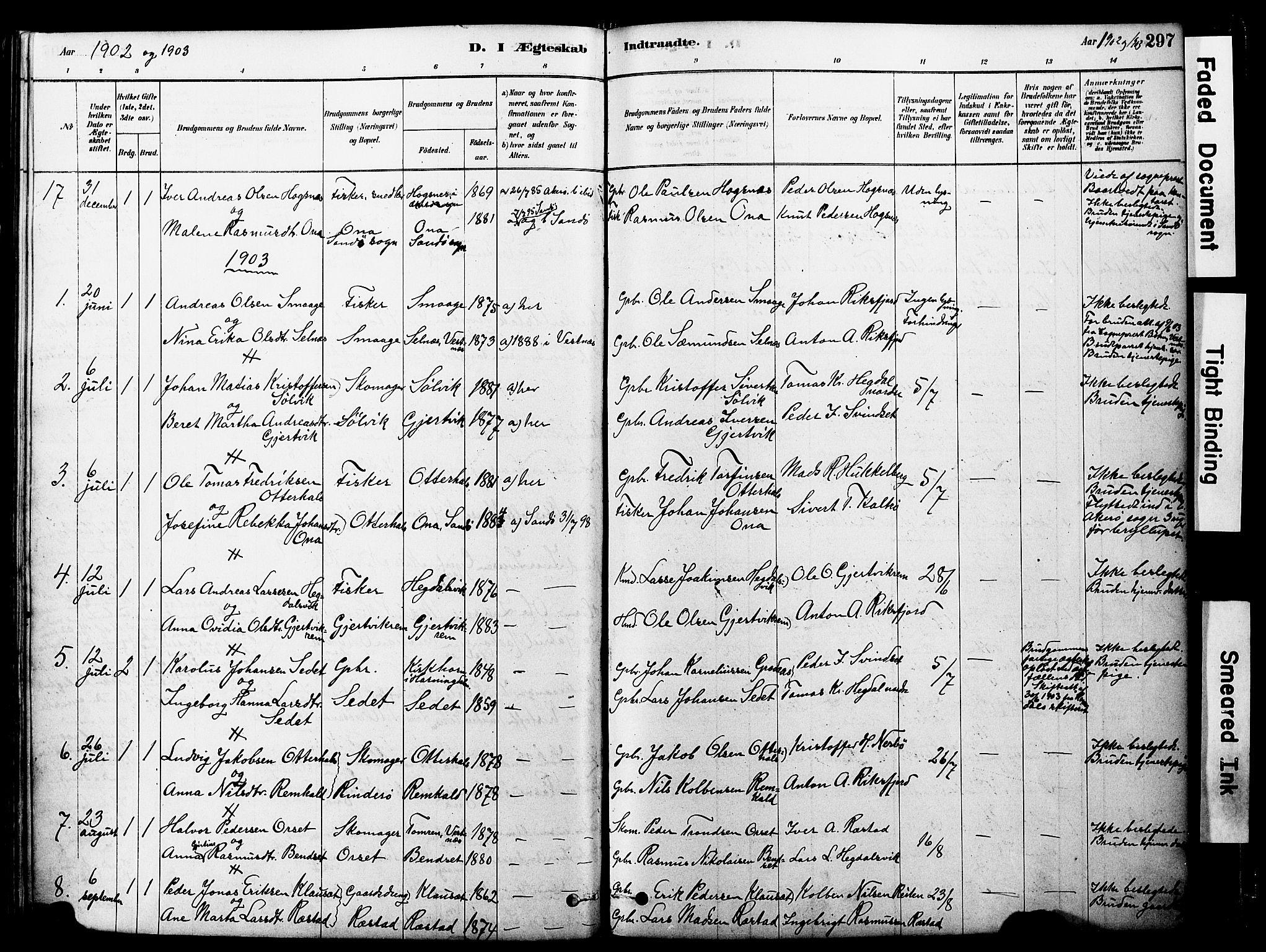 SAT, Ministerialprotokoller, klokkerbøker og fødselsregistre - Møre og Romsdal, 560/L0721: Ministerialbok nr. 560A05, 1878-1917, s. 297