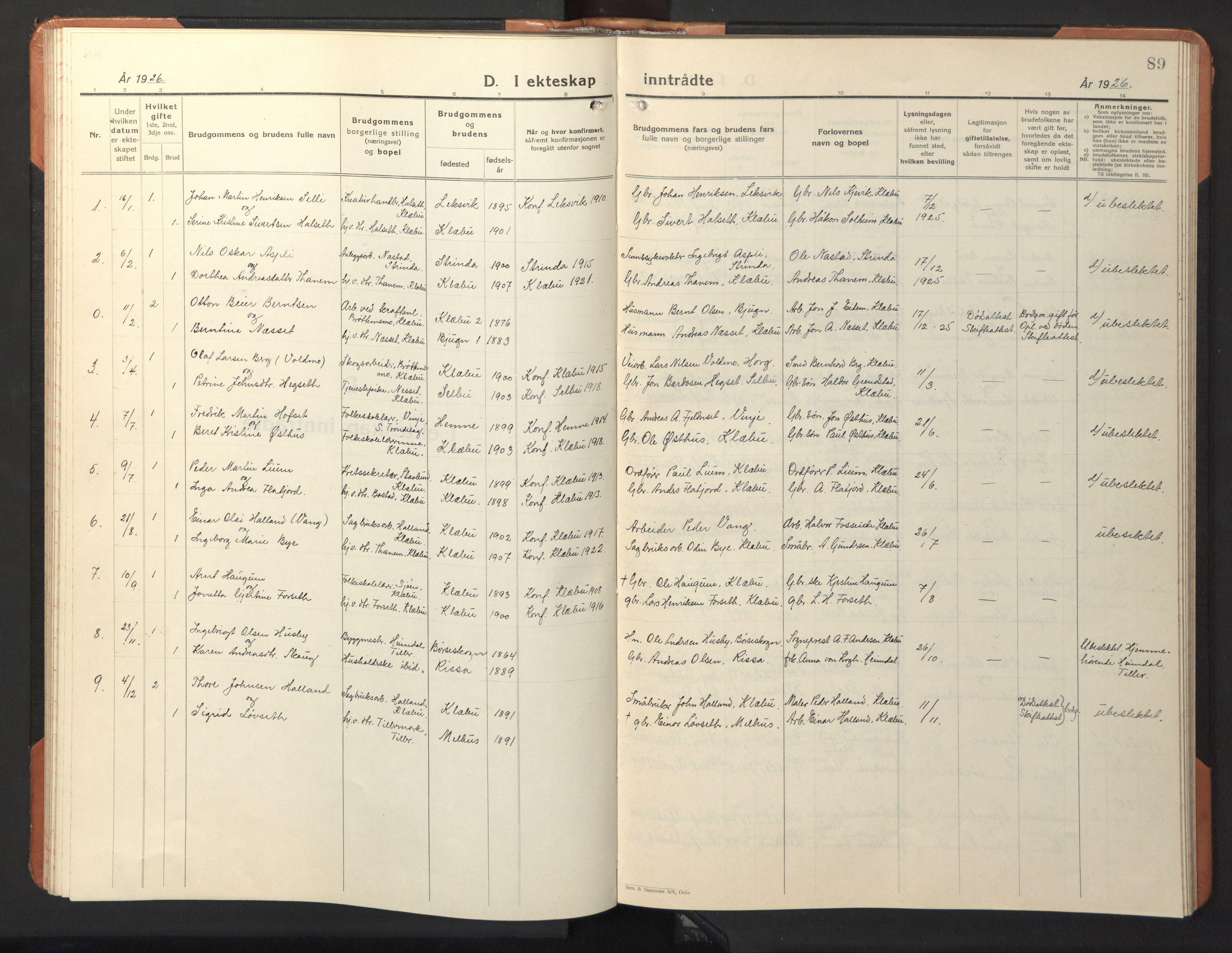 SAT, Ministerialprotokoller, klokkerbøker og fødselsregistre - Sør-Trøndelag, 618/L0454: Klokkerbok nr. 618C05, 1926-1946, s. 89