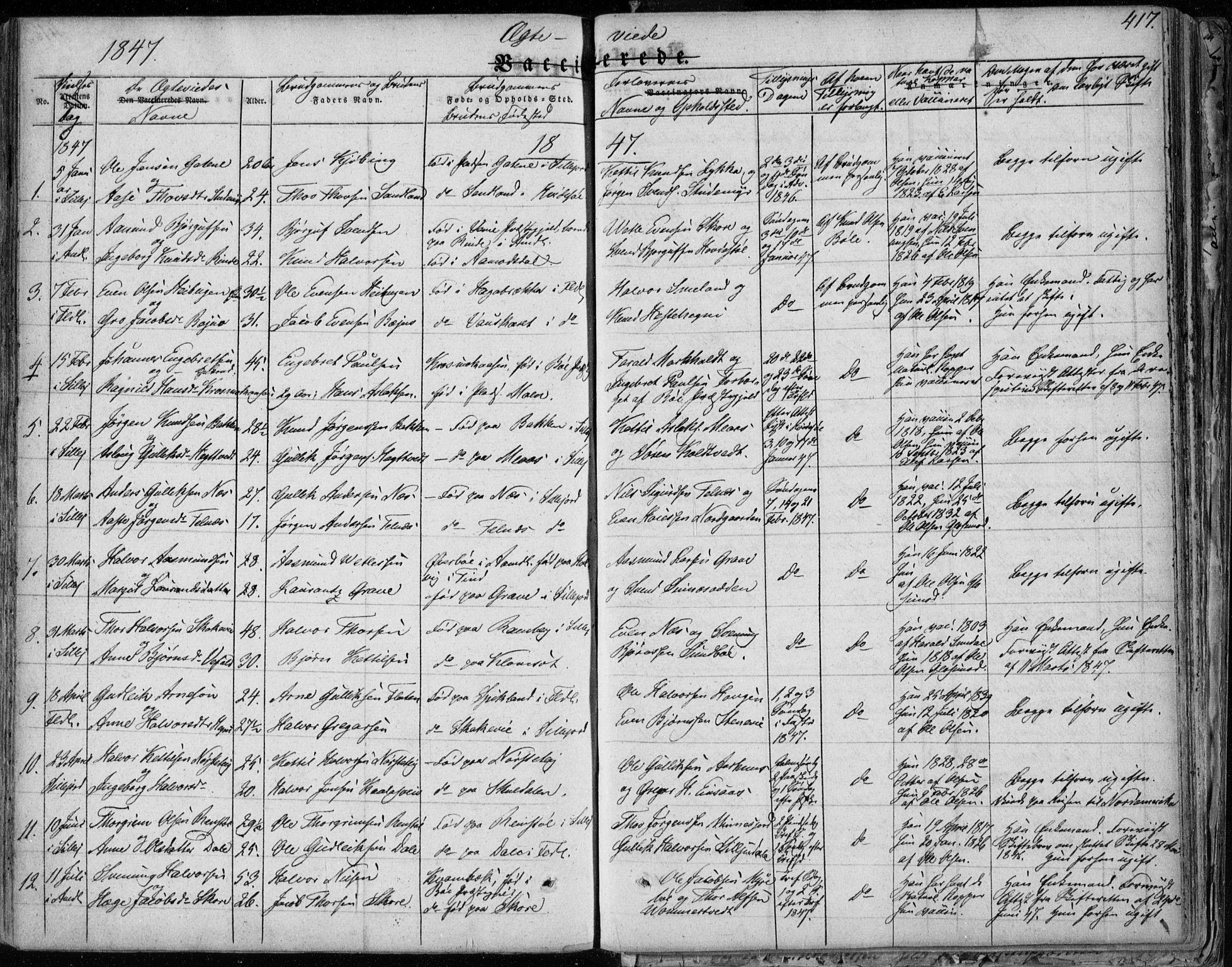 SAKO, Seljord kirkebøker, F/Fa/L0011: Ministerialbok nr. I 11, 1831-1849, s. 417