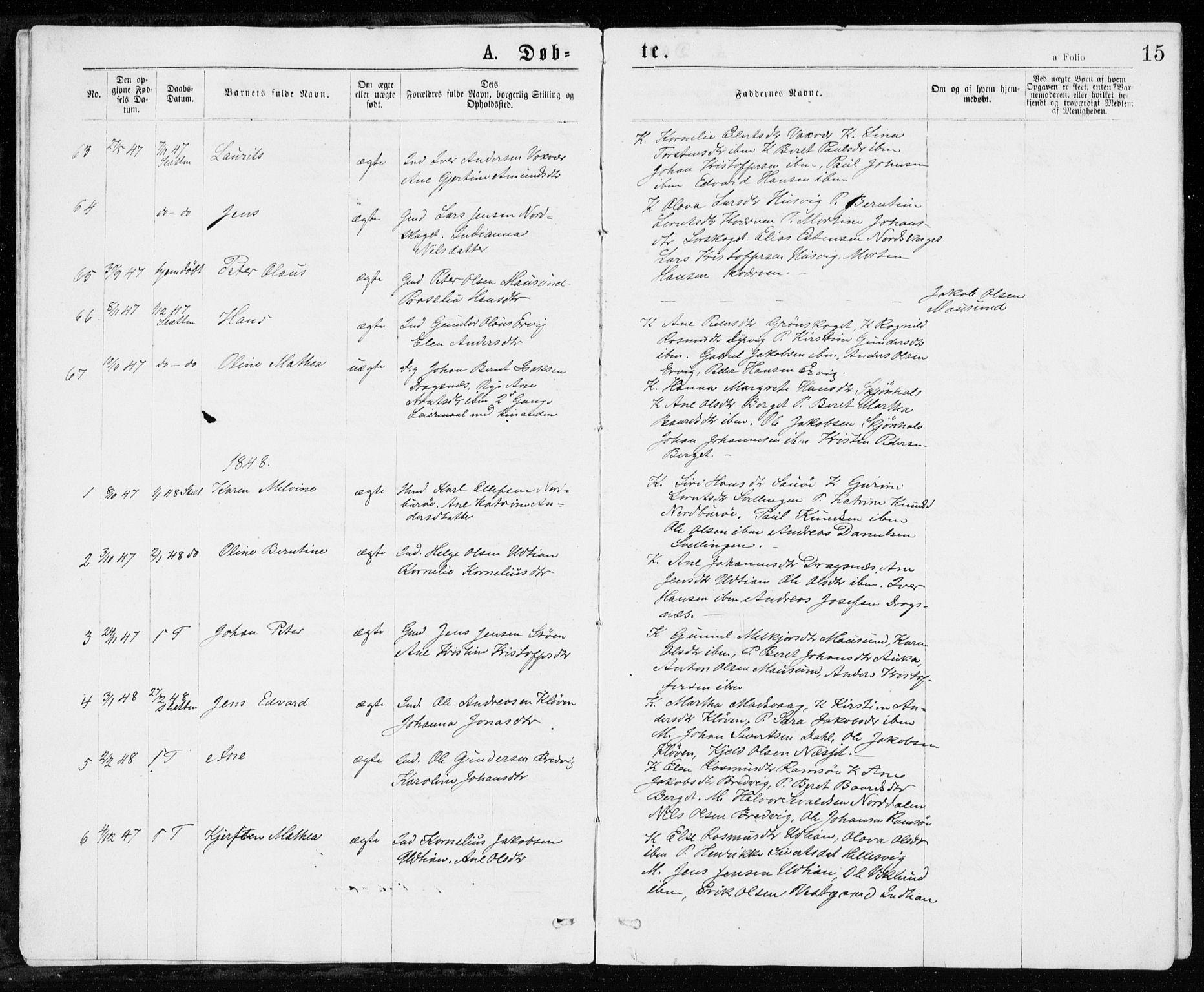 SAT, Ministerialprotokoller, klokkerbøker og fødselsregistre - Sør-Trøndelag, 640/L0576: Ministerialbok nr. 640A01, 1846-1876, s. 15