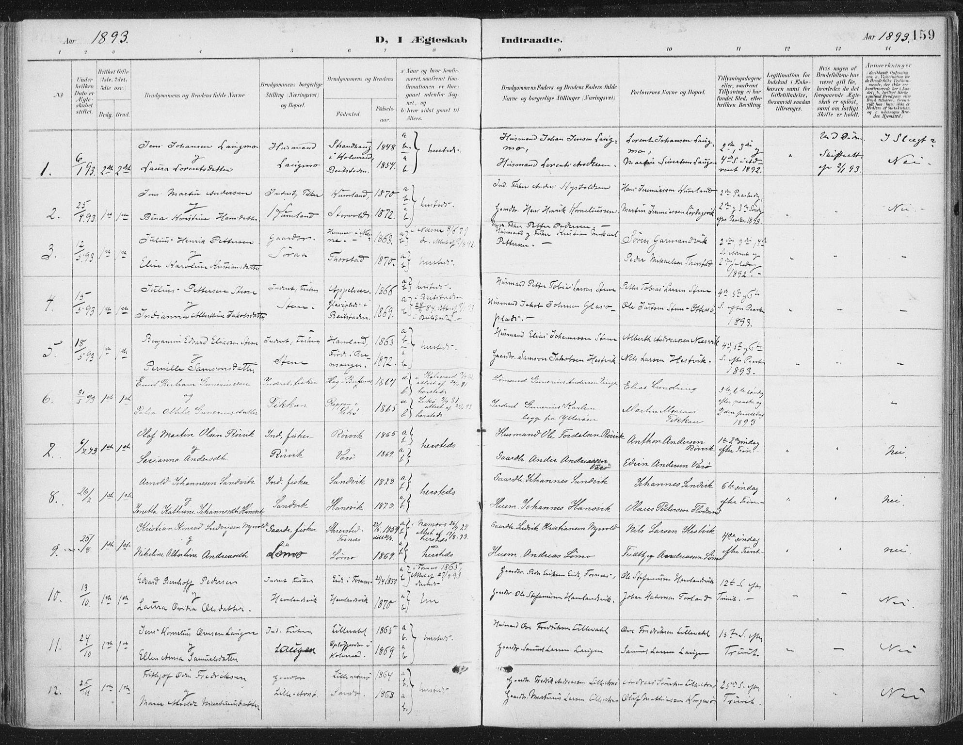 SAT, Ministerialprotokoller, klokkerbøker og fødselsregistre - Nord-Trøndelag, 784/L0673: Ministerialbok nr. 784A08, 1888-1899, s. 159