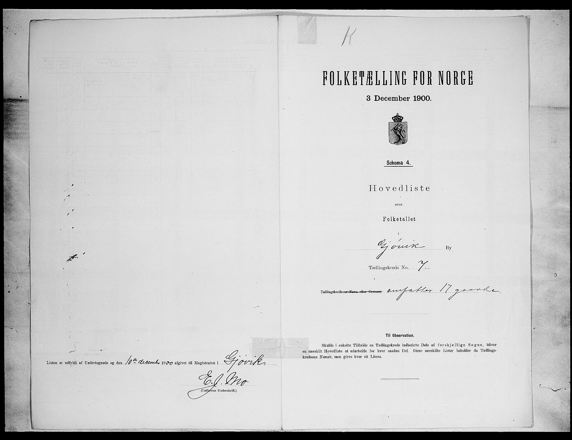 SAH, Folketelling 1900 for 0502 Gjøvik kjøpstad, 1900, s. 27