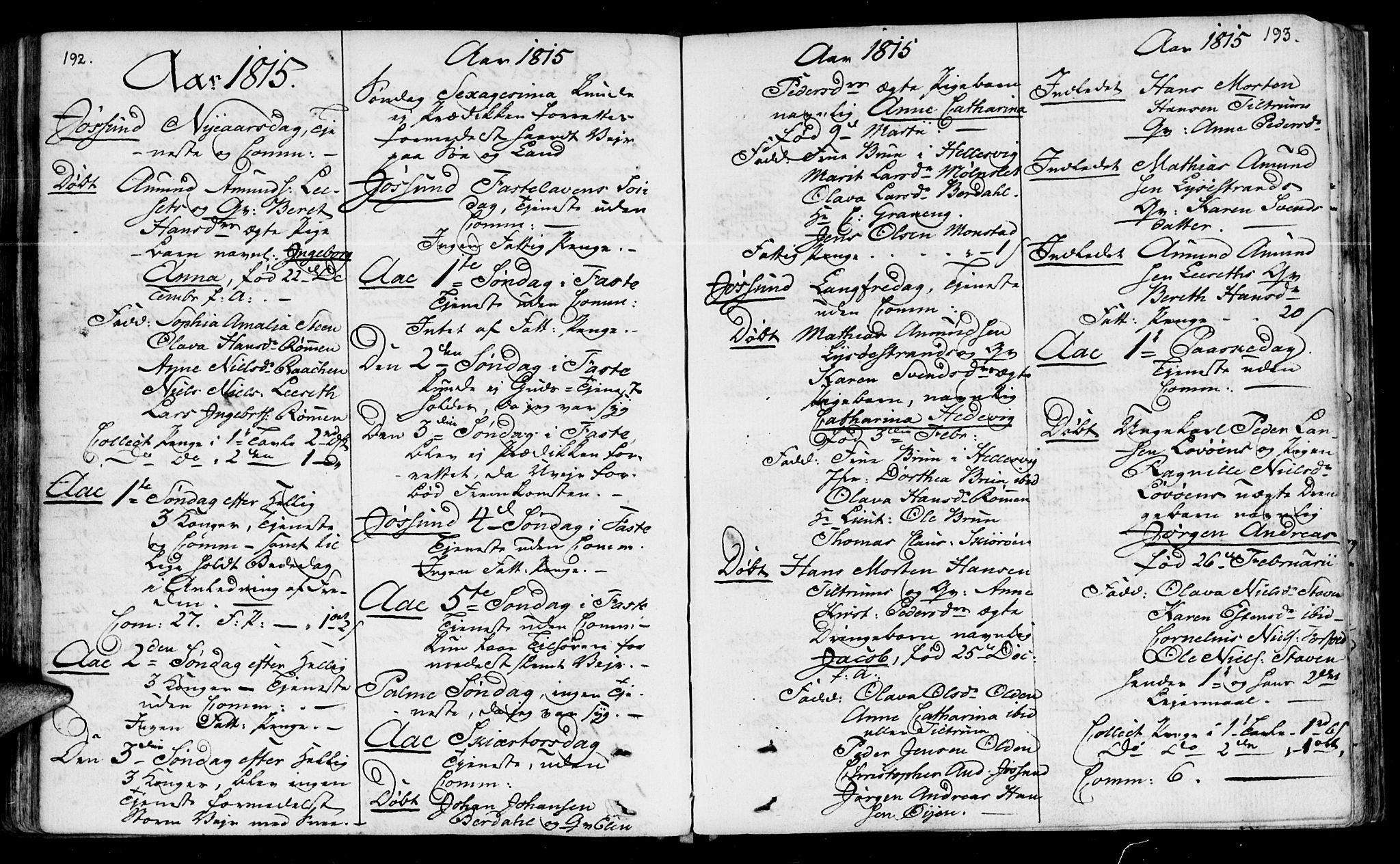 SAT, Ministerialprotokoller, klokkerbøker og fødselsregistre - Sør-Trøndelag, 655/L0674: Ministerialbok nr. 655A03, 1802-1826, s. 192-193