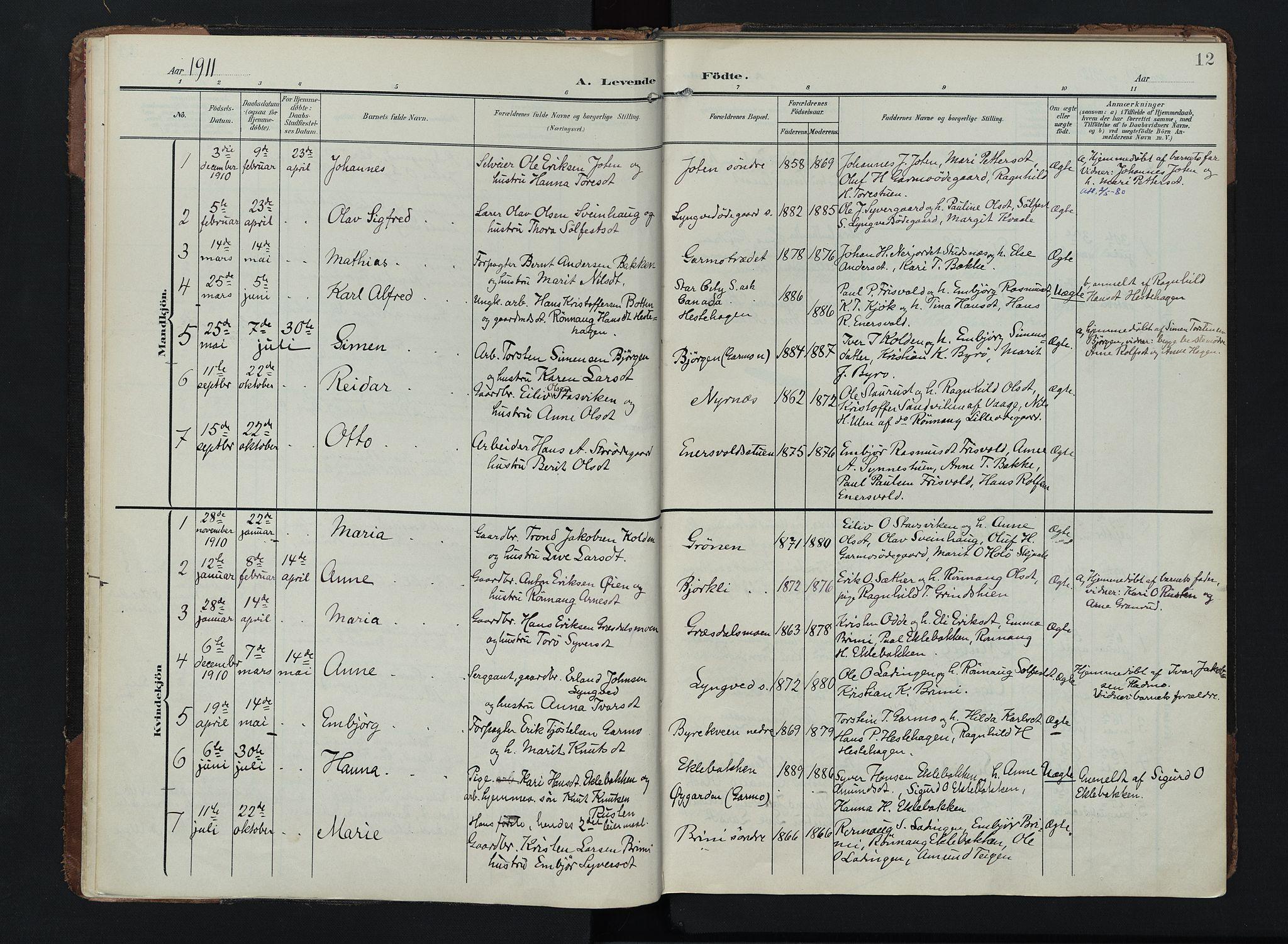 SAH, Lom prestekontor, K/L0011: Ministerialbok nr. 11, 1904-1928, s. 12