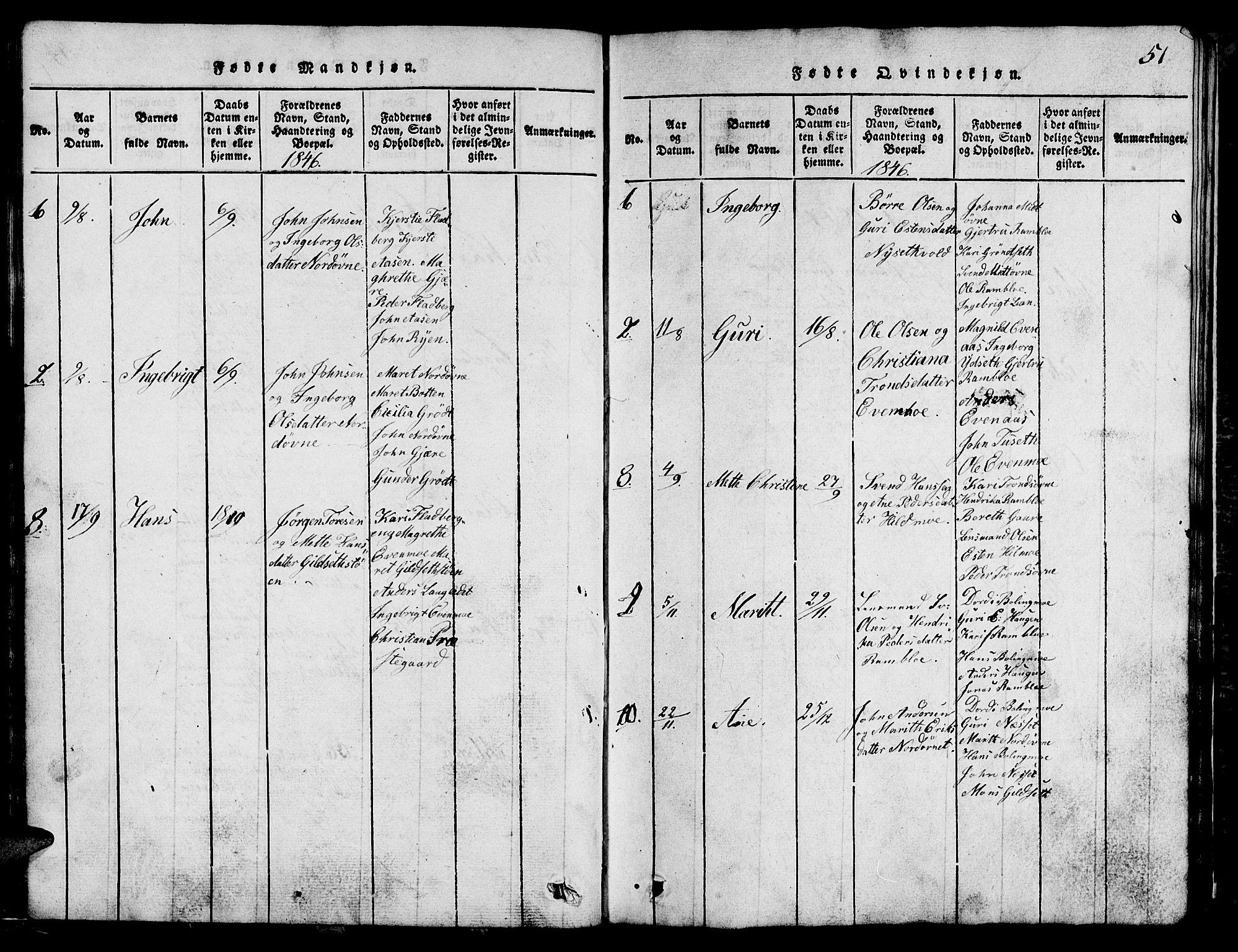 SAT, Ministerialprotokoller, klokkerbøker og fødselsregistre - Sør-Trøndelag, 685/L0976: Klokkerbok nr. 685C01, 1817-1878, s. 51