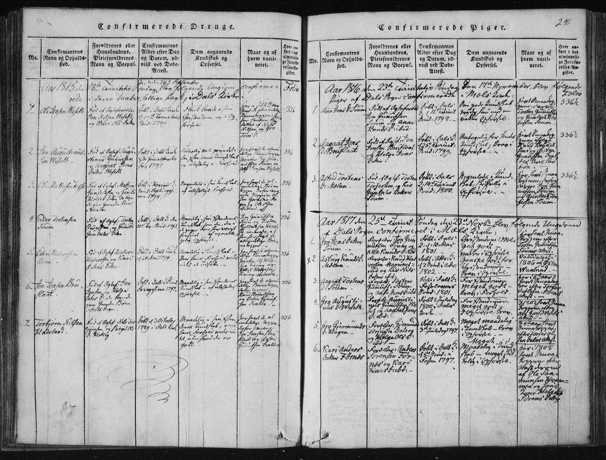 SAKO, Tinn kirkebøker, F/Fc/L0001: Ministerialbok nr. III 1, 1815-1843, s. 241