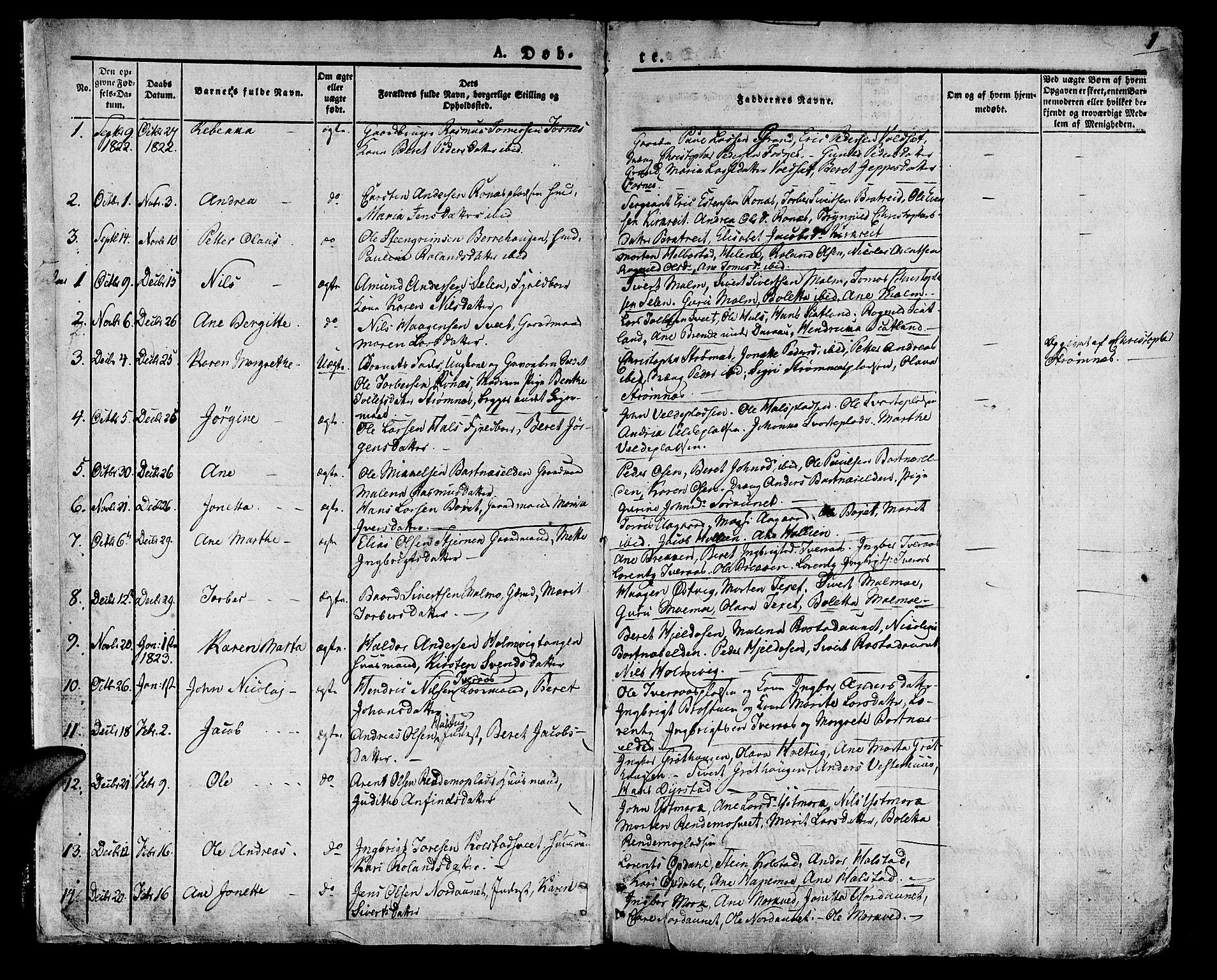 SAT, Ministerialprotokoller, klokkerbøker og fødselsregistre - Nord-Trøndelag, 741/L0390: Ministerialbok nr. 741A04, 1822-1836, s. 1
