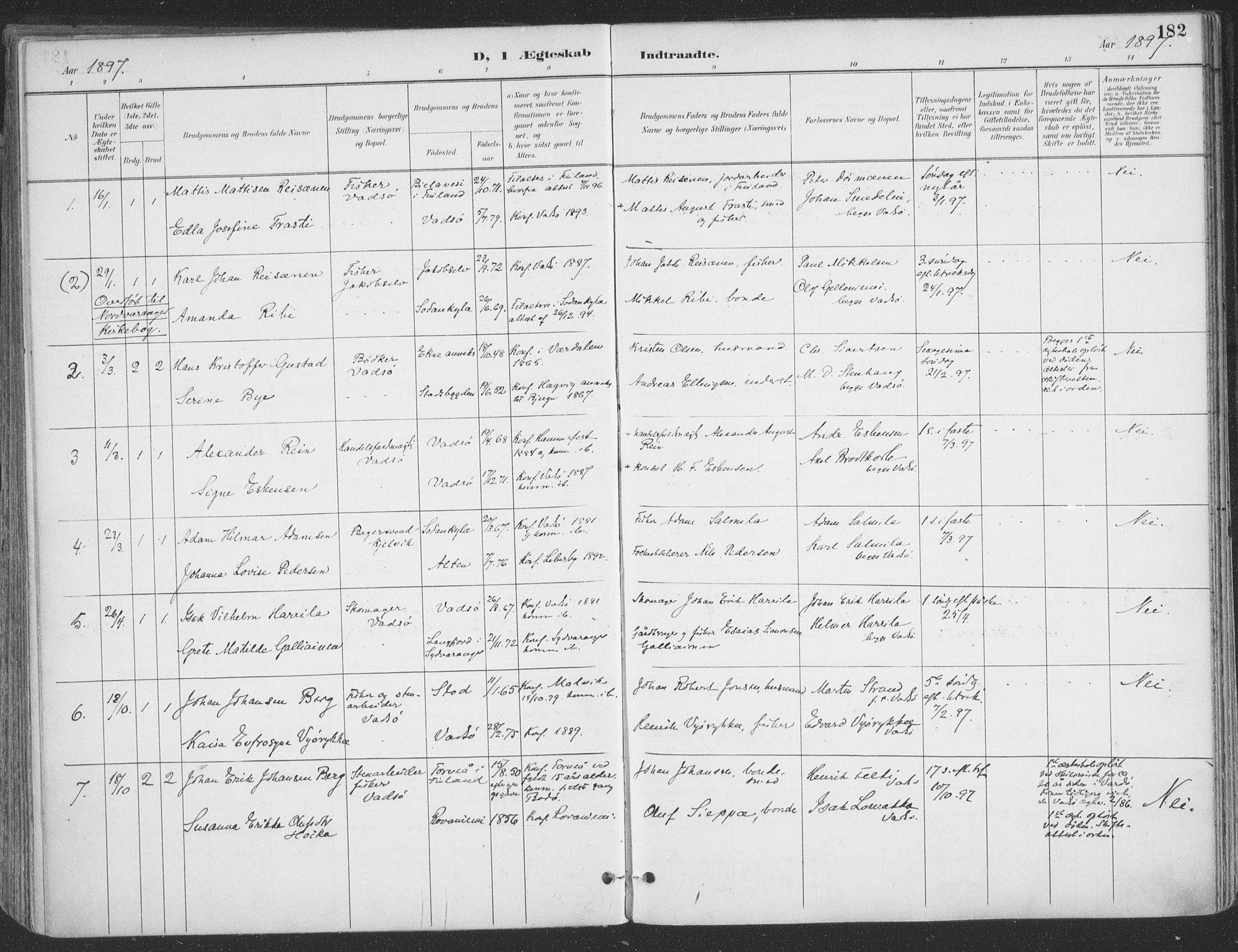 SATØ, Vadsø sokneprestkontor, H/Ha/L0007kirke: Ministerialbok nr. 7, 1896-1916, s. 182