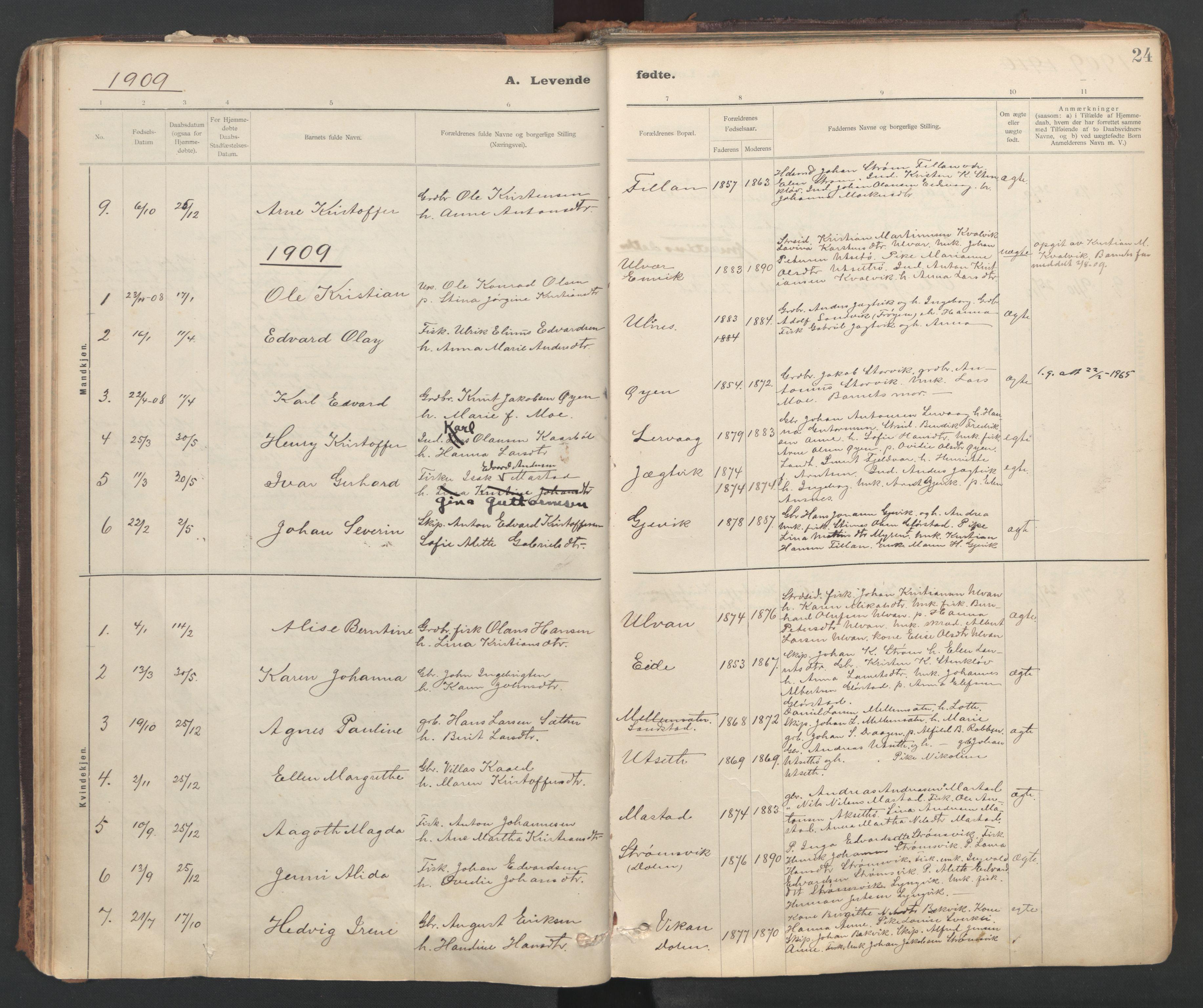 SAT, Ministerialprotokoller, klokkerbøker og fødselsregistre - Sør-Trøndelag, 637/L0559: Ministerialbok nr. 637A02, 1899-1923, s. 24