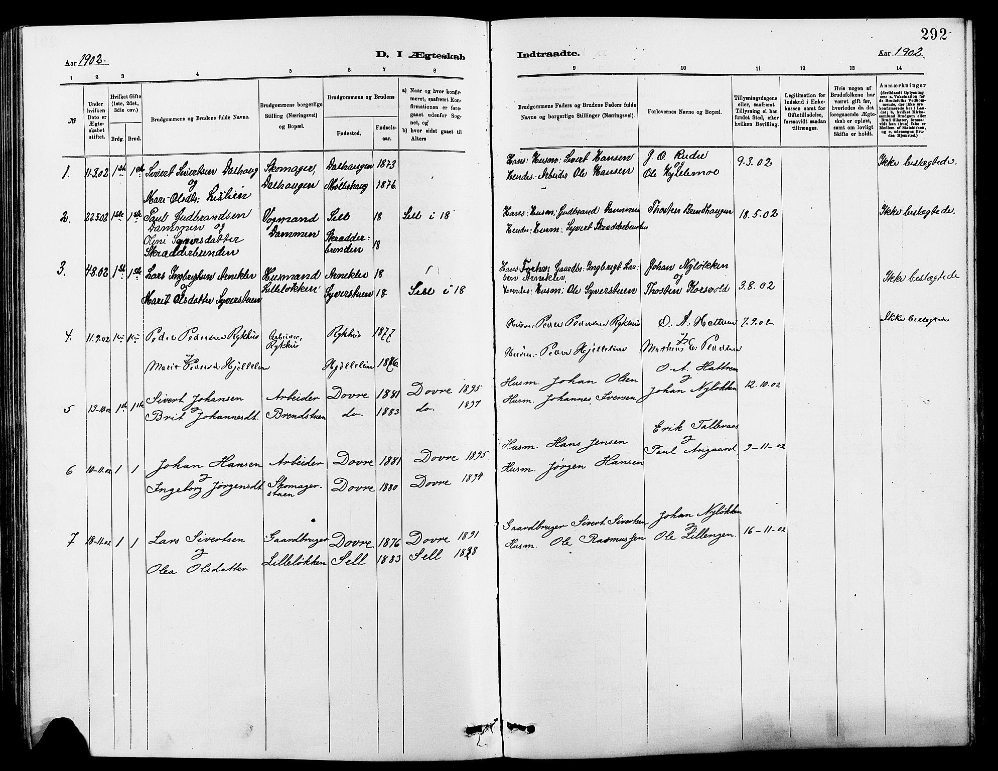 SAH, Dovre prestekontor, Klokkerbok nr. 2, 1881-1907, s. 292