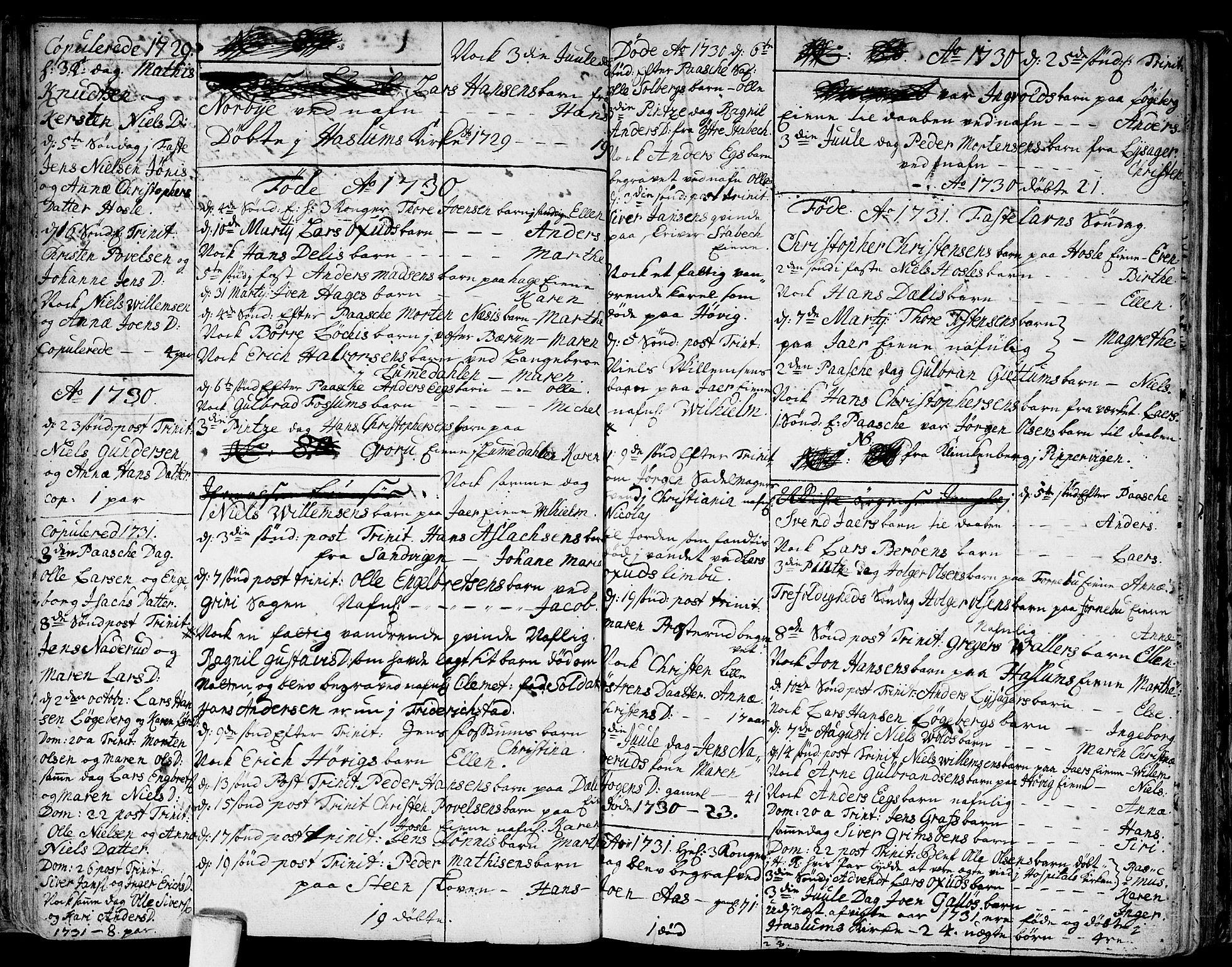 SAO, Asker prestekontor Kirkebøker, F/Fa/L0001: Ministerialbok nr. I 1, 1726-1744, s. 24