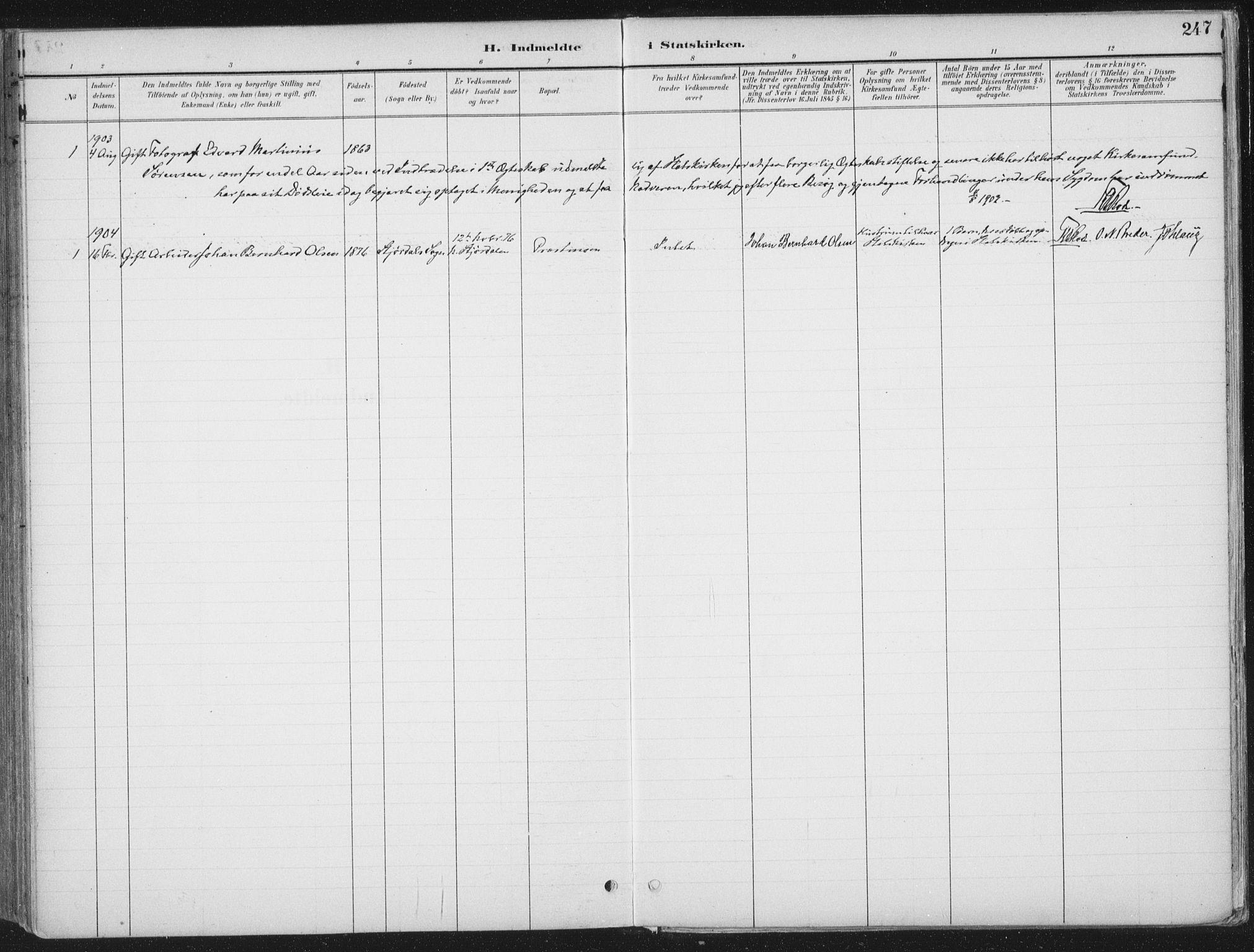 SAT, Ministerialprotokoller, klokkerbøker og fødselsregistre - Nord-Trøndelag, 709/L0082: Ministerialbok nr. 709A22, 1896-1916, s. 247