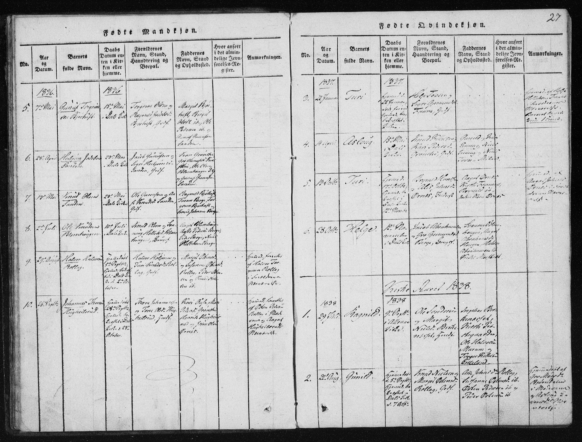 SAKO, Tinn kirkebøker, F/Fb/L0001: Ministerialbok nr. II 1, 1815-1843, s. 27