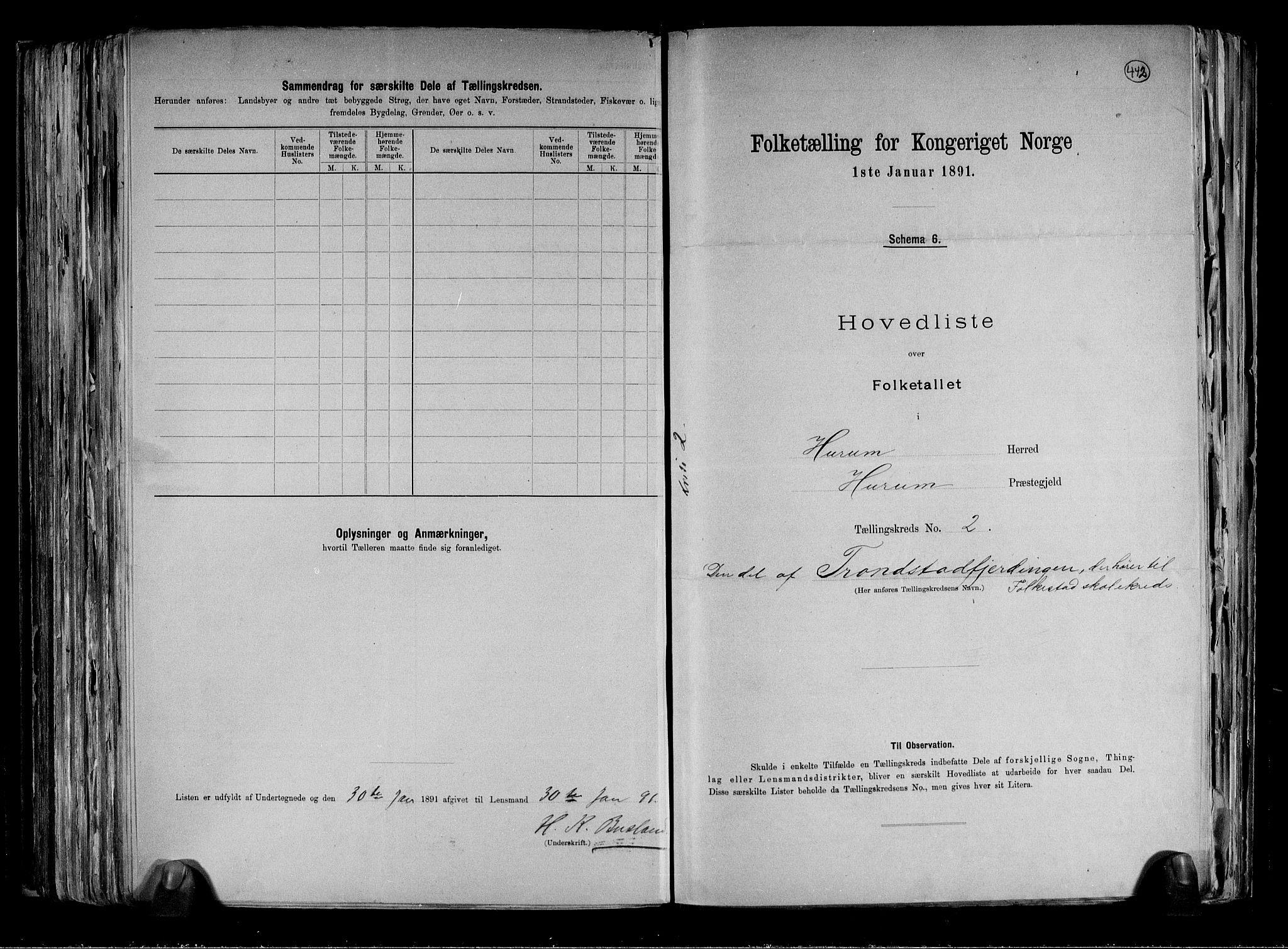 RA, Folketelling 1891 for 0628 Hurum herred, 1891, s. 7