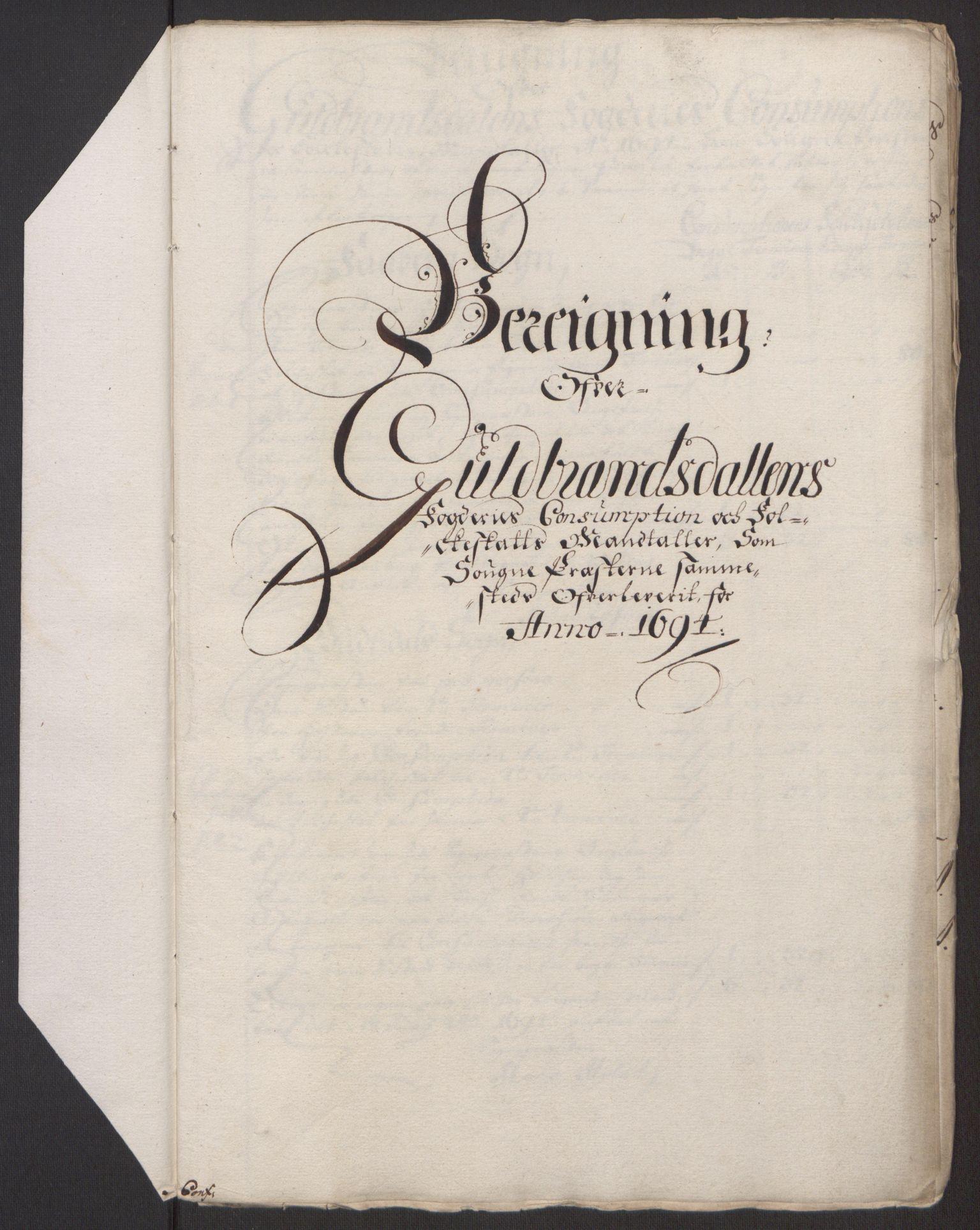 RA, Rentekammeret inntil 1814, Reviderte regnskaper, Fogderegnskap, R17/L1168: Fogderegnskap Gudbrandsdal, 1694, s. 339