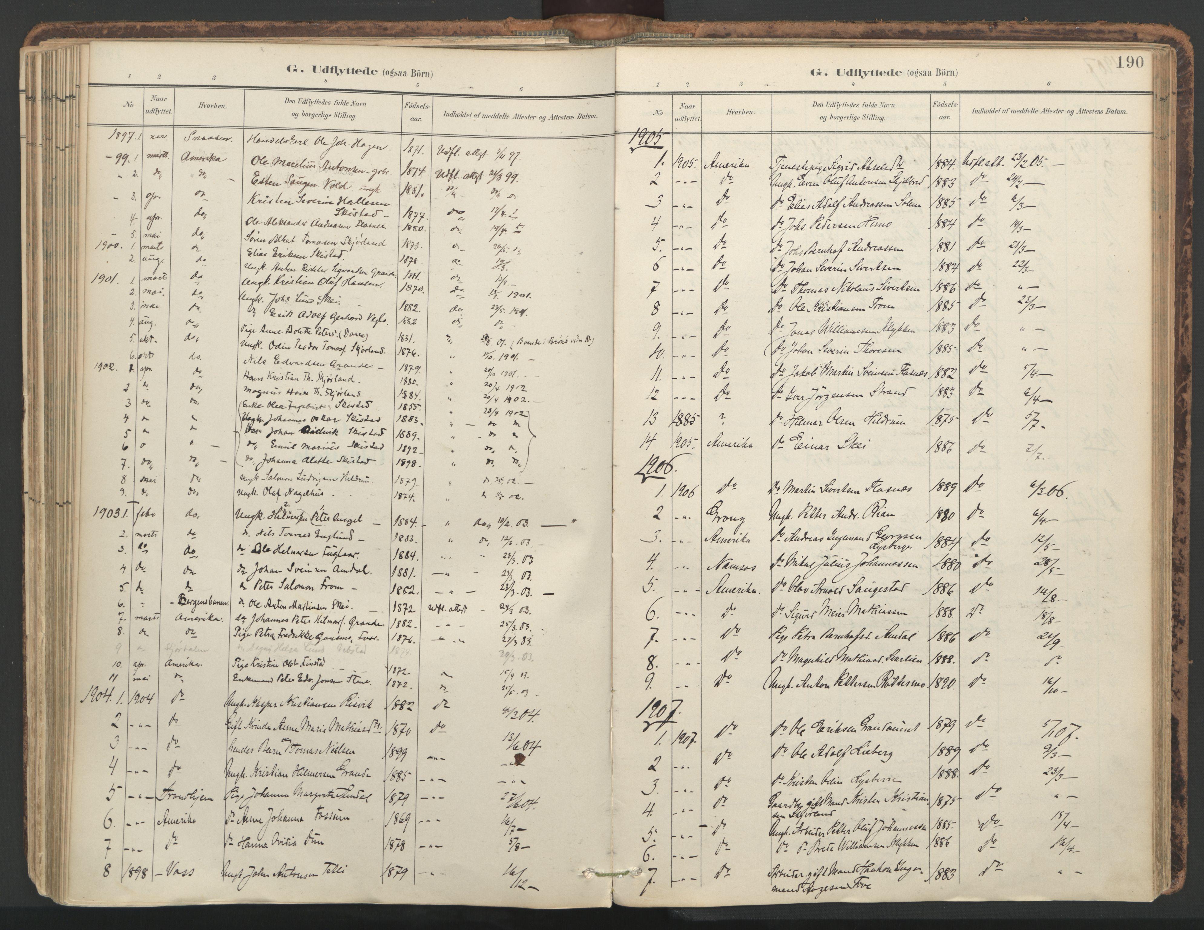 SAT, Ministerialprotokoller, klokkerbøker og fødselsregistre - Nord-Trøndelag, 764/L0556: Ministerialbok nr. 764A11, 1897-1924, s. 190