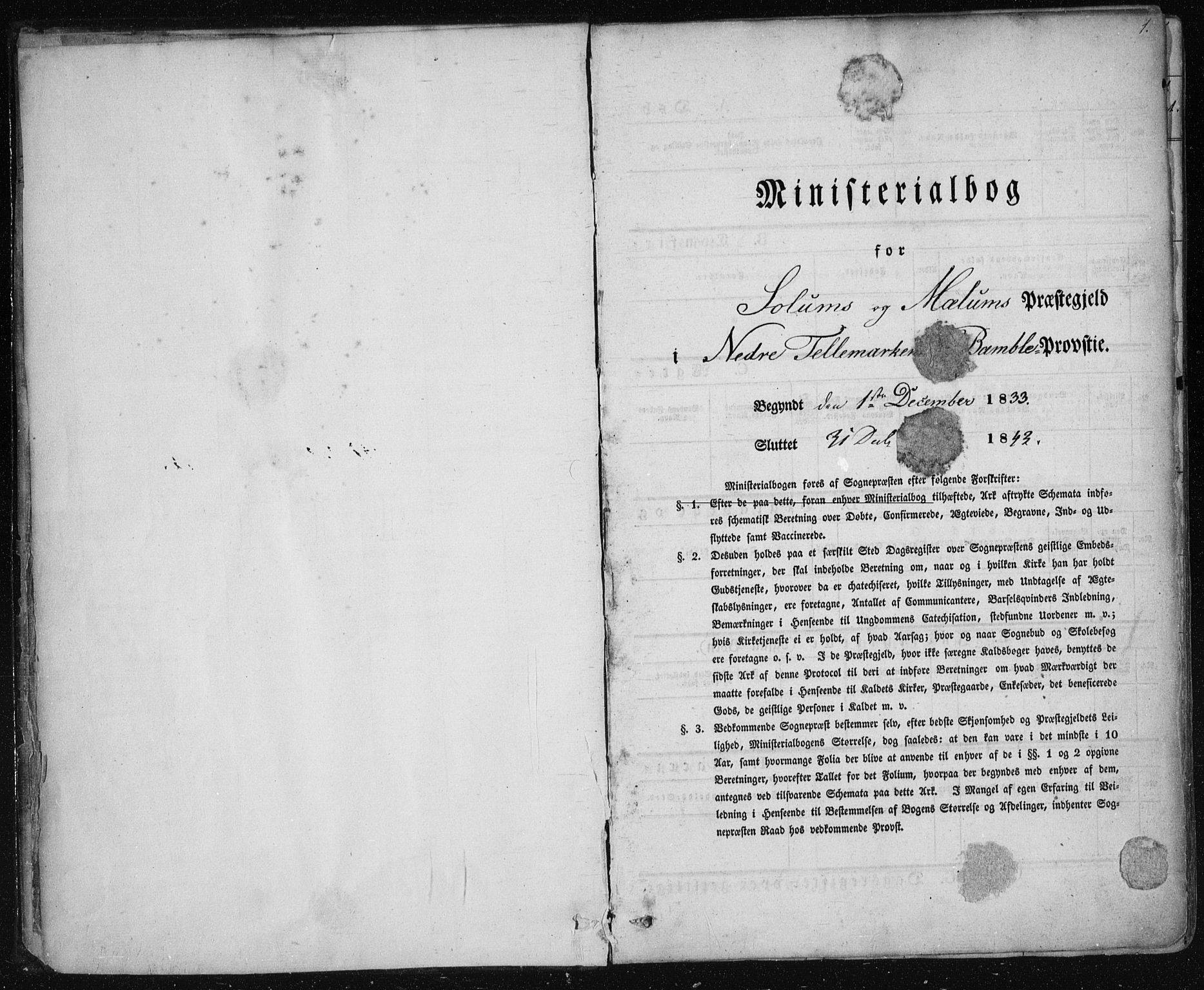 SAKO, Solum kirkebøker, F/Fa/L0005: Ministerialbok nr. I 5, 1833-1843, s. 1