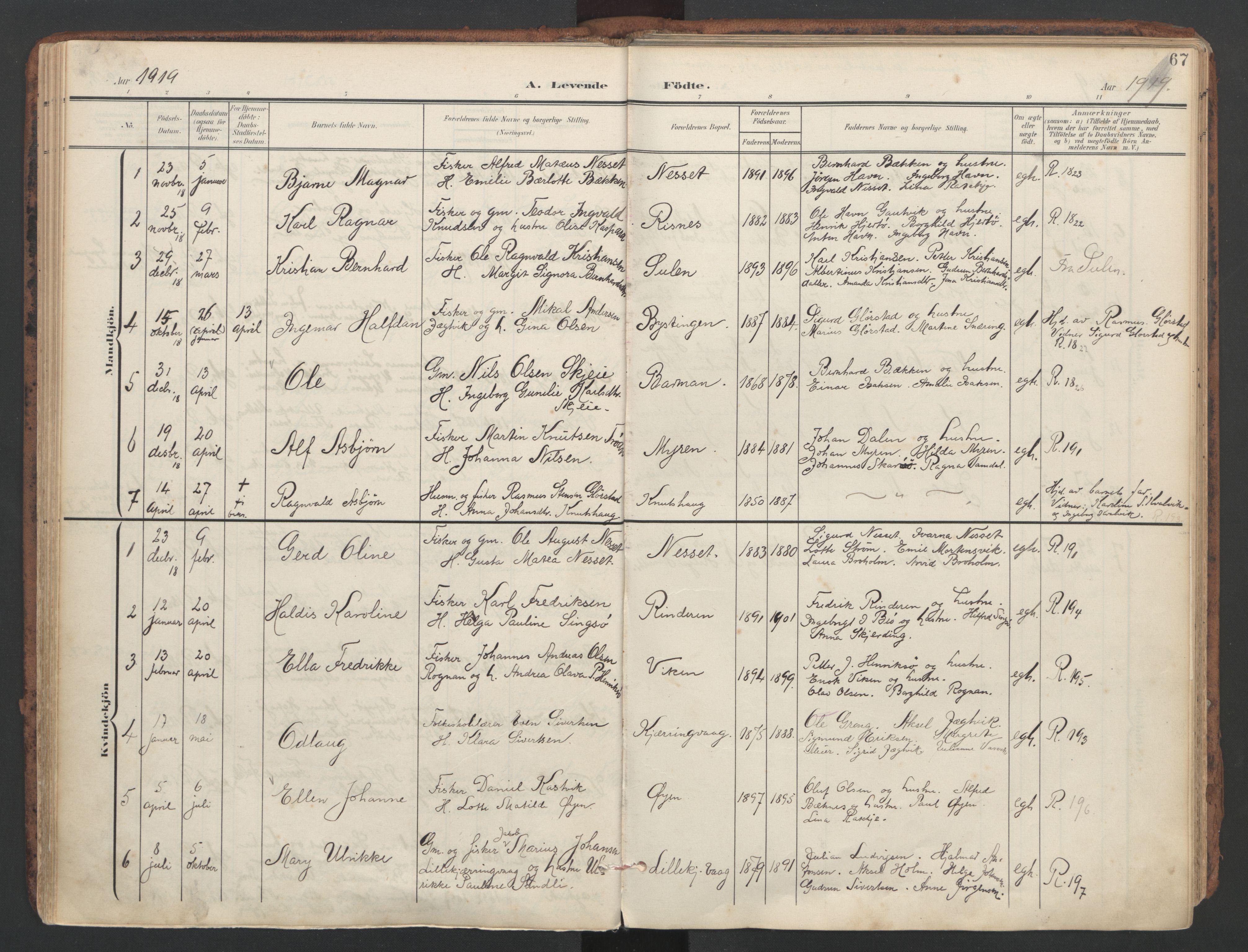 SAT, Ministerialprotokoller, klokkerbøker og fødselsregistre - Sør-Trøndelag, 634/L0537: Ministerialbok nr. 634A13, 1896-1922, s. 67