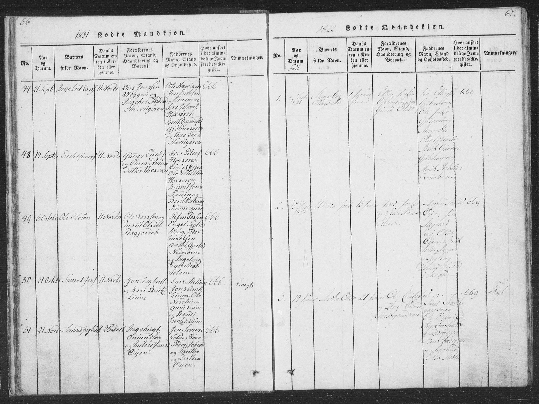 SAT, Ministerialprotokoller, klokkerbøker og fødselsregistre - Sør-Trøndelag, 668/L0816: Klokkerbok nr. 668C05, 1816-1893, s. 66-67