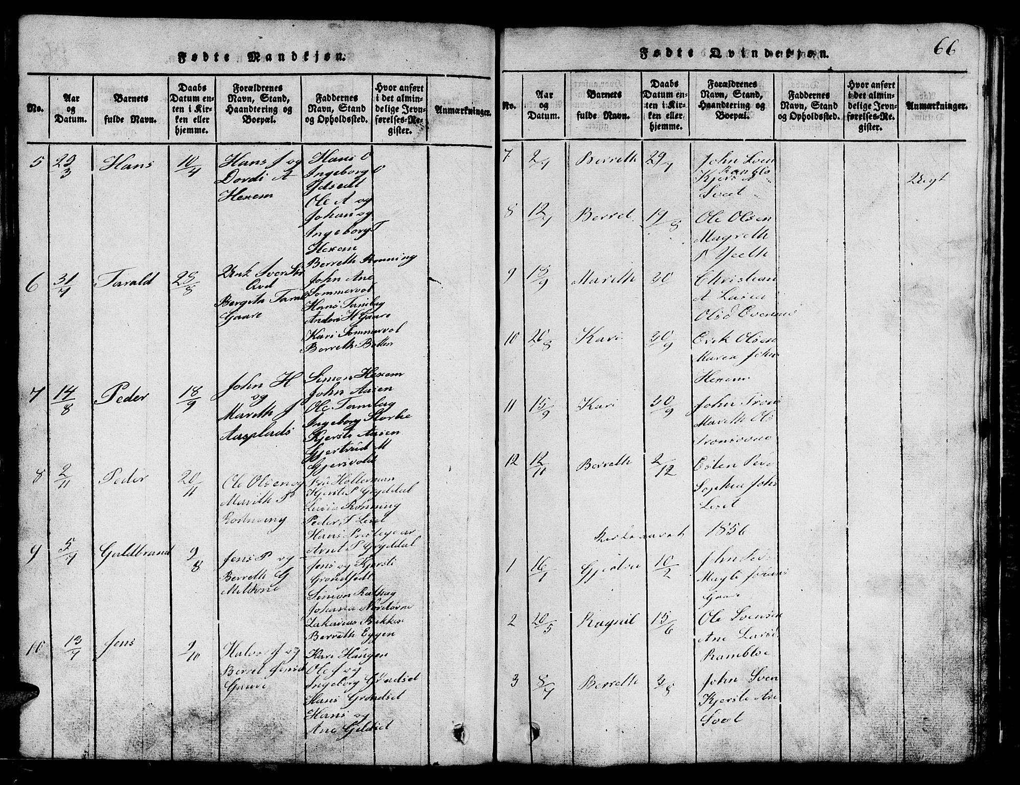 SAT, Ministerialprotokoller, klokkerbøker og fødselsregistre - Sør-Trøndelag, 685/L0976: Klokkerbok nr. 685C01, 1817-1878, s. 66