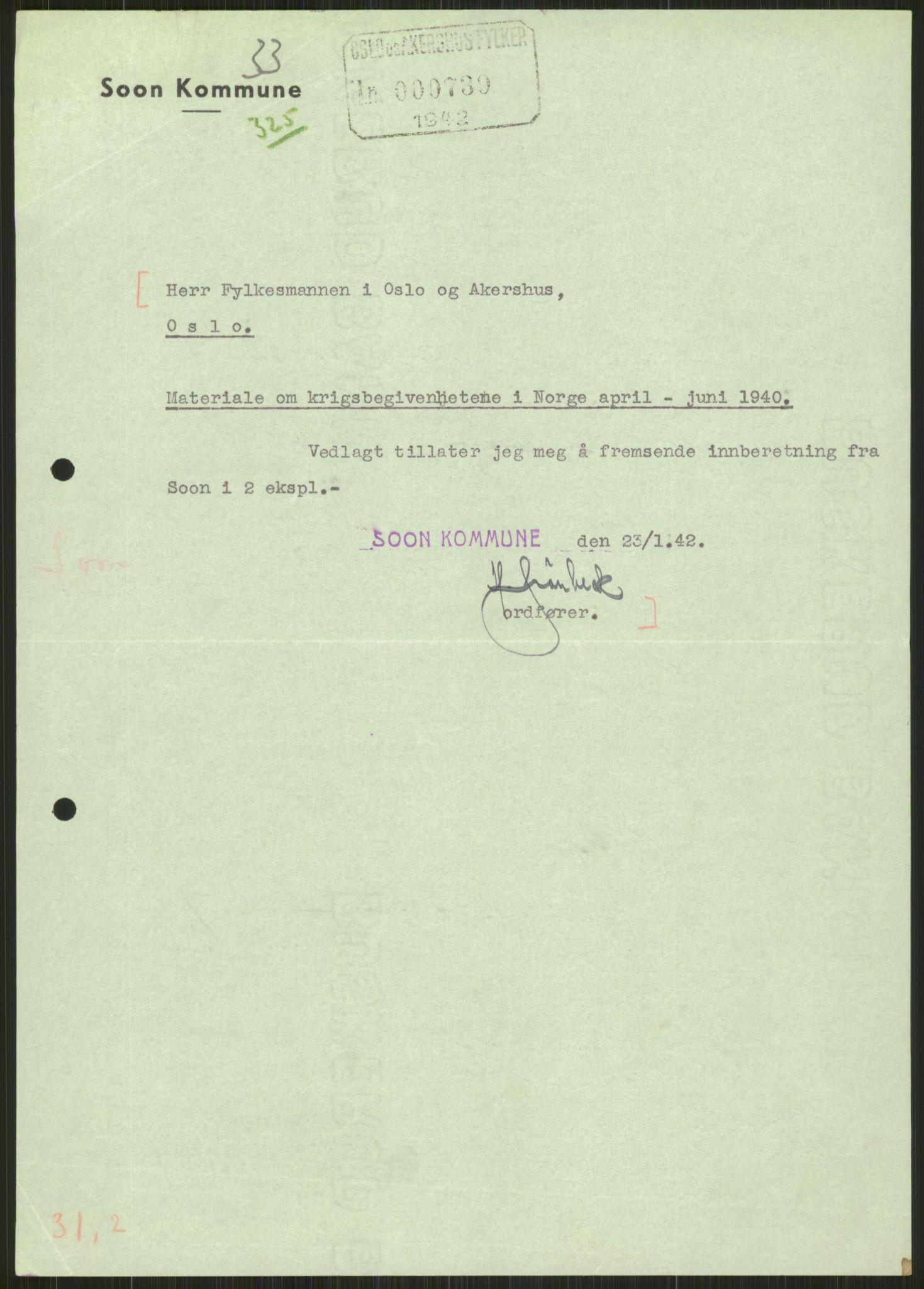 RA, Forsvaret, Forsvarets krigshistoriske avdeling, Y/Ya/L0013: II-C-11-31 - Fylkesmenn.  Rapporter om krigsbegivenhetene 1940., 1940, s. 830