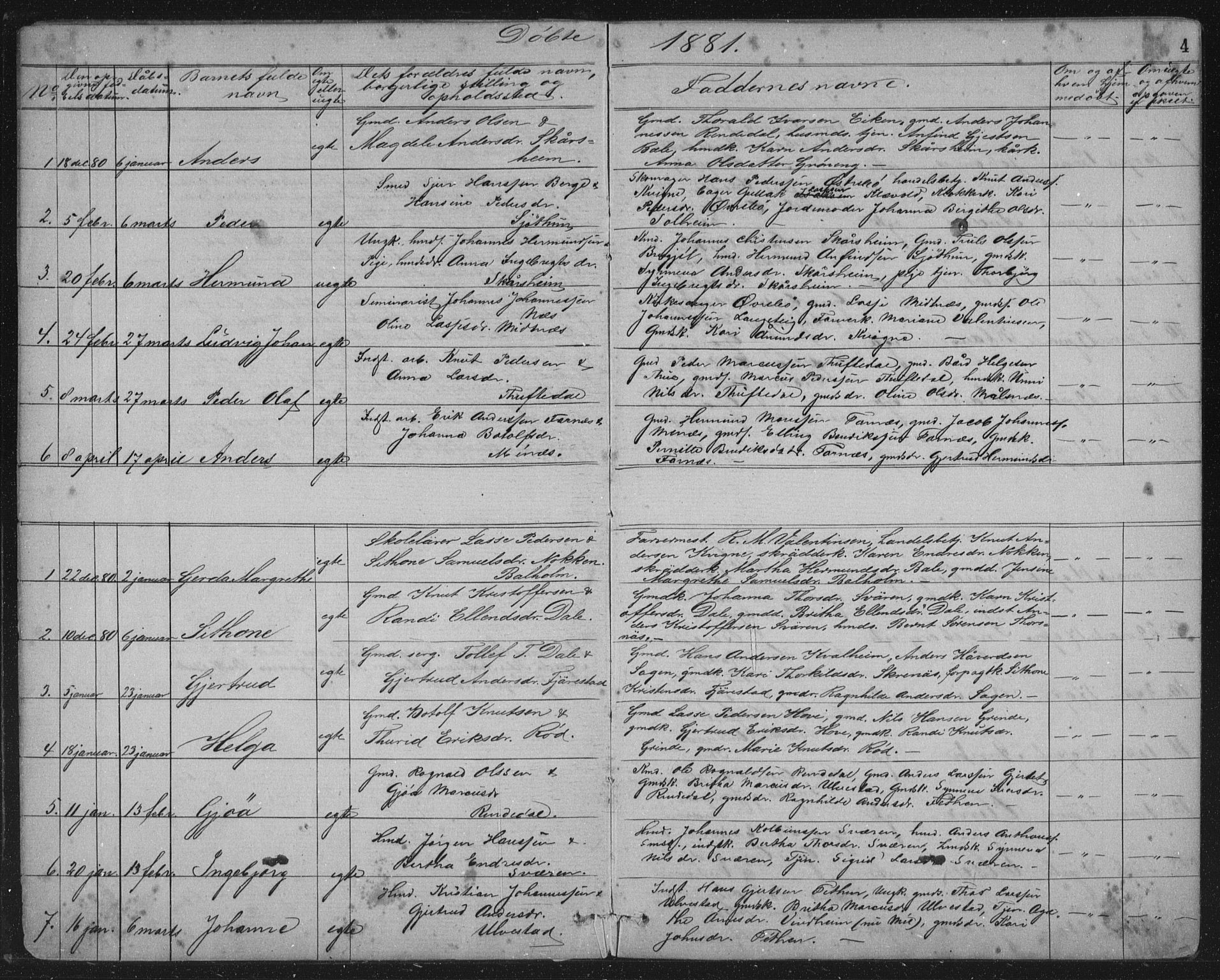 SAB, Balestrand Sokneprestembete, Klokkerbok nr. A 2, 1880-1919, s. 4