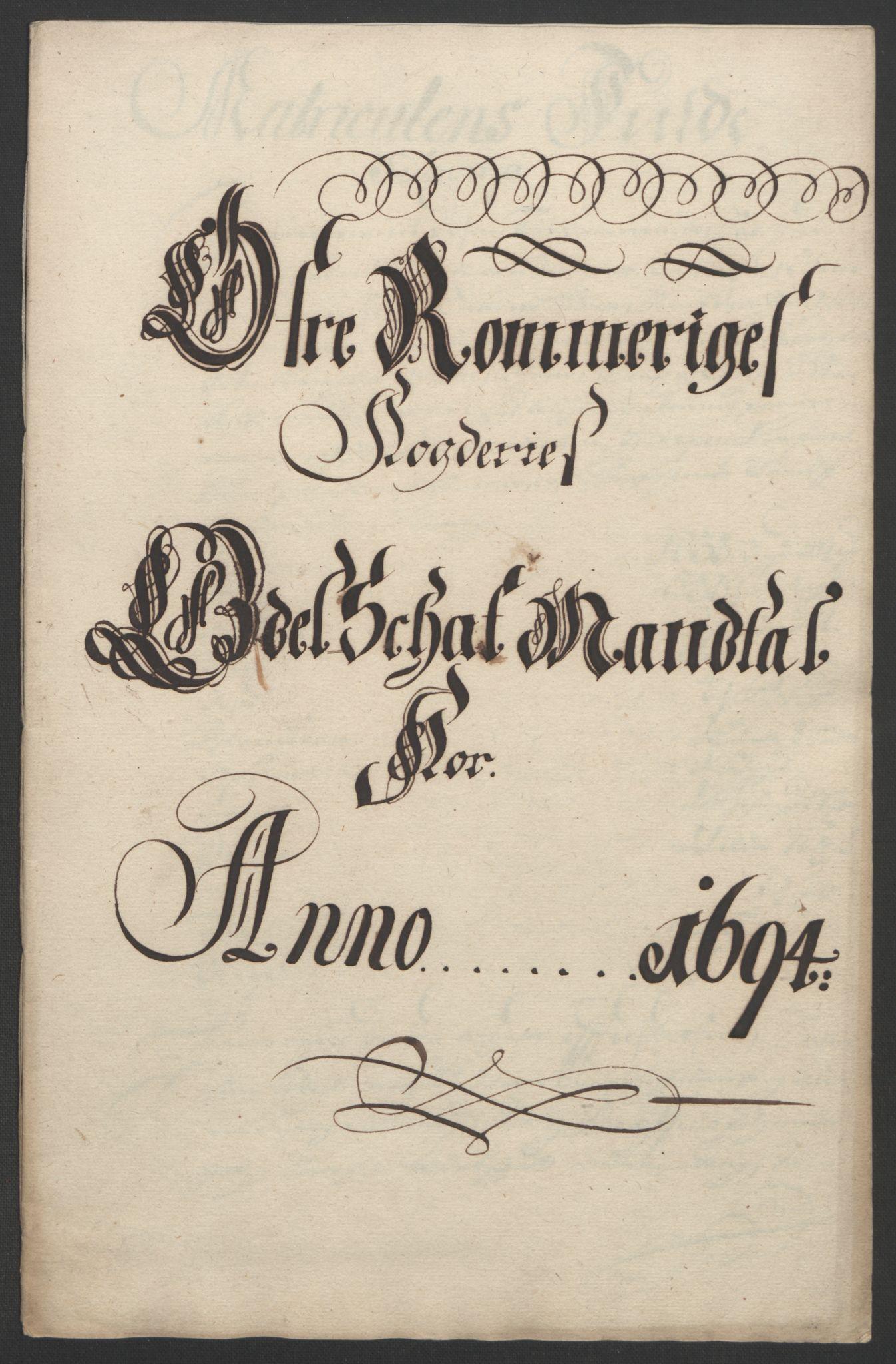 RA, Rentekammeret inntil 1814, Reviderte regnskaper, Fogderegnskap, R12/L0706: Fogderegnskap Øvre Romerike, 1694, s. 235