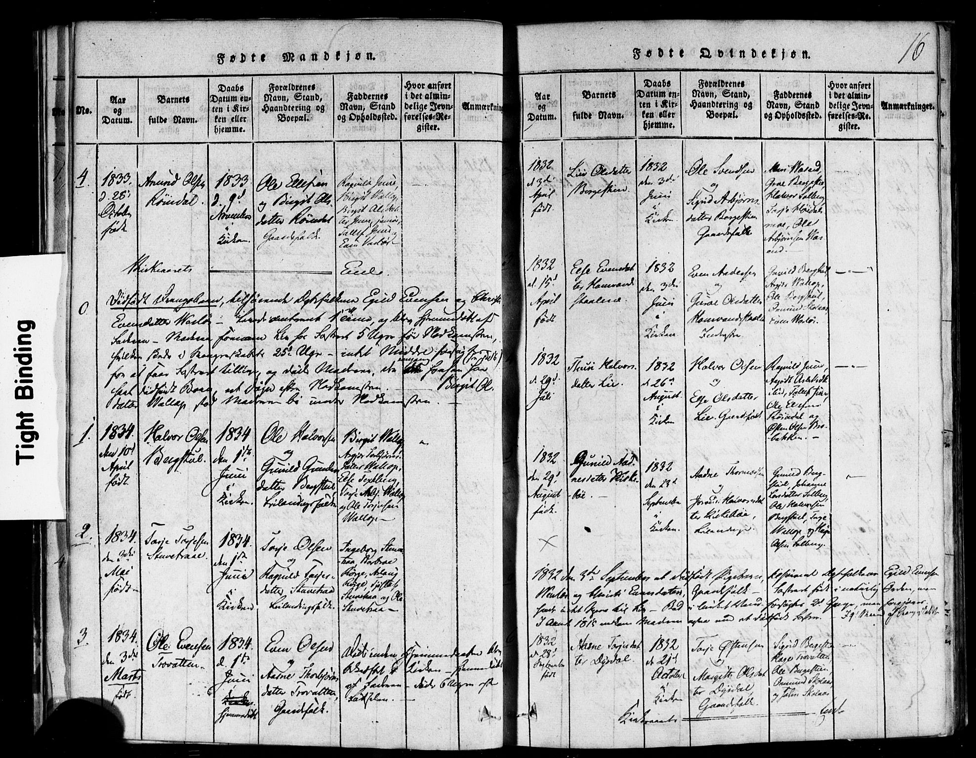 SAKO, Rauland kirkebøker, F/Fa/L0002: Ministerialbok nr. 2, 1815-1860, s. 16