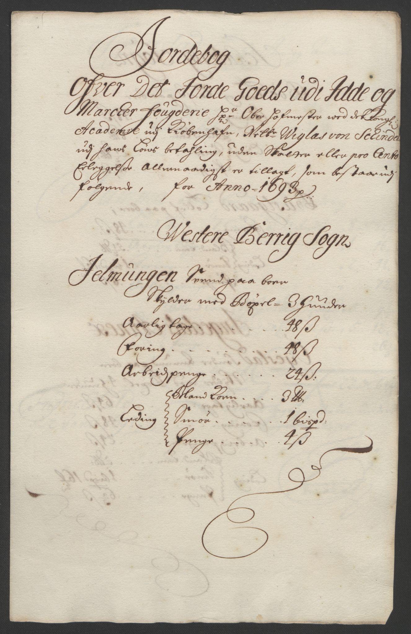 RA, Rentekammeret inntil 1814, Reviderte regnskaper, Fogderegnskap, R01/L0011: Fogderegnskap Idd og Marker, 1692-1693, s. 249