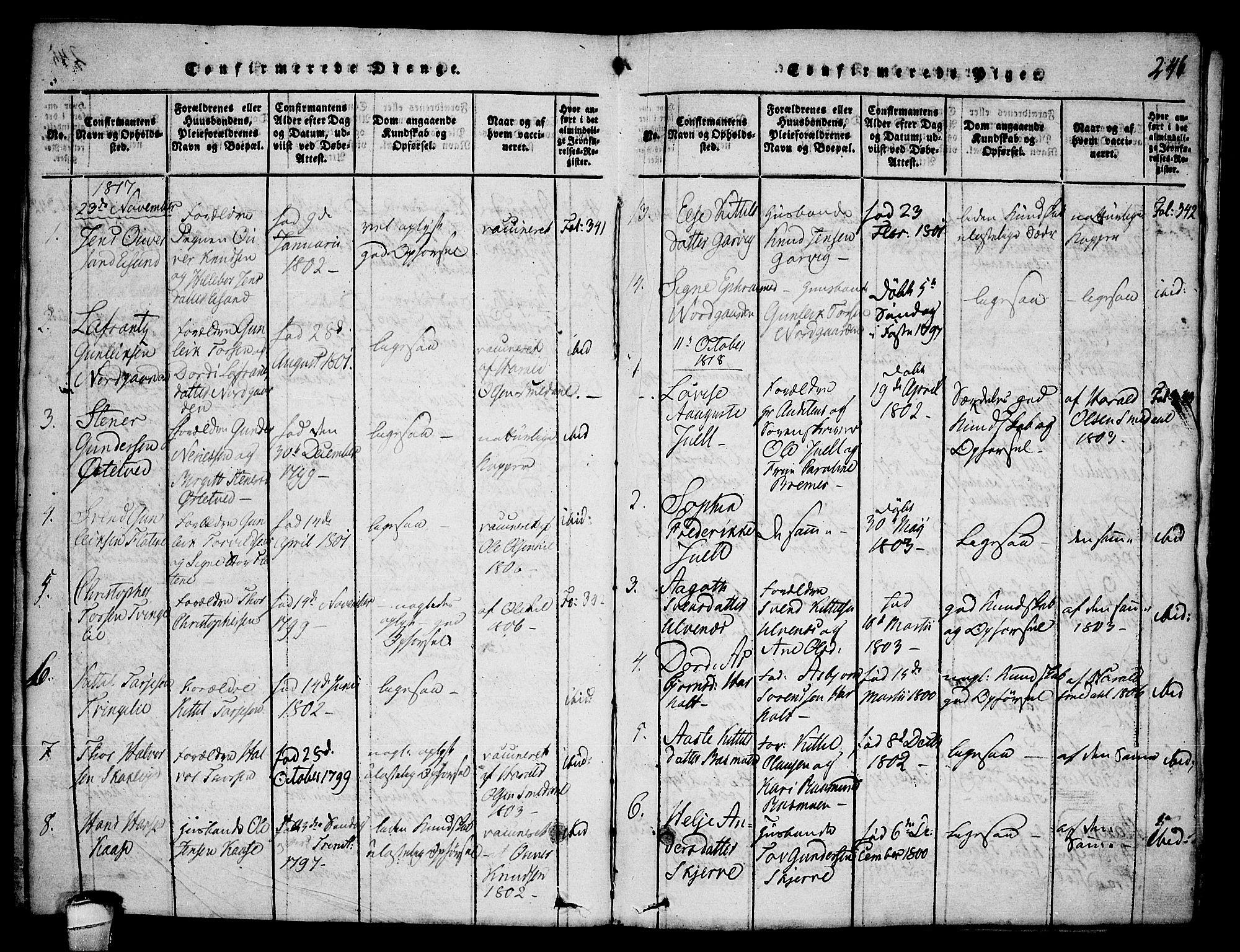 SAKO, Seljord kirkebøker, F/Fa/L0010: Ministerialbok nr. I 10, 1815-1831, s. 246