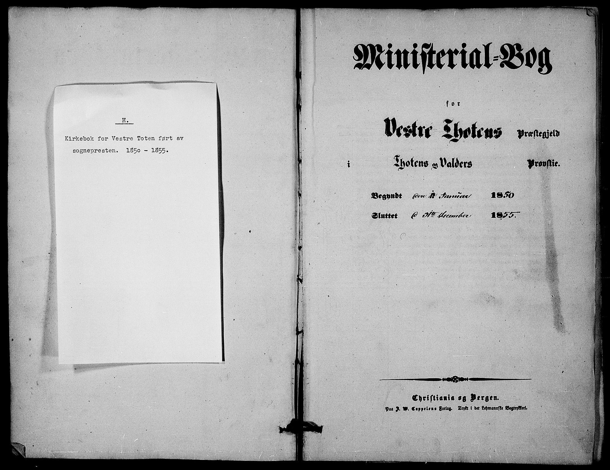 SAH, Vestre Toten prestekontor, H/Ha/Haa/L0005: Ministerialbok nr. 5, 1850-1855