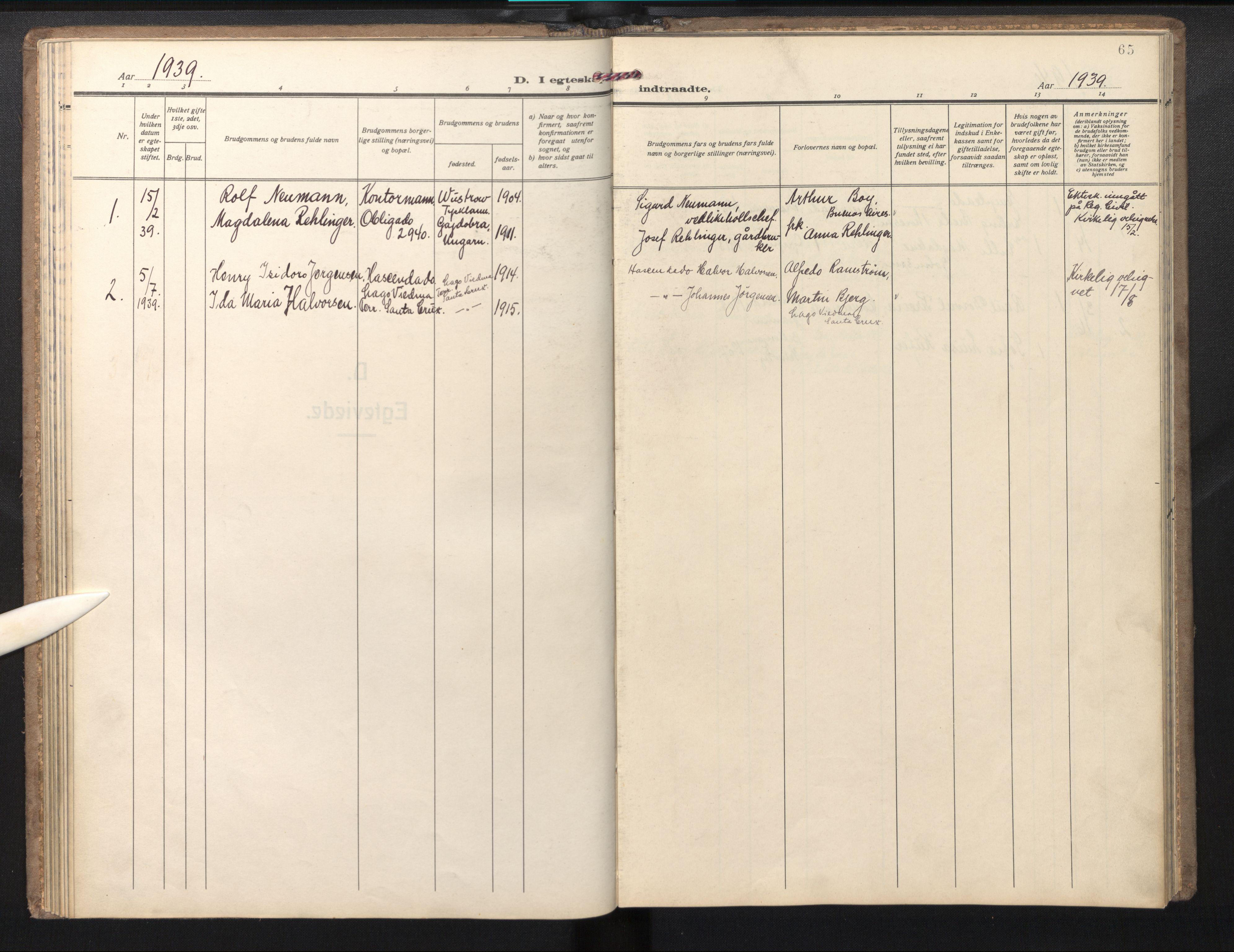 SAB, Den norske sjømannsmisjon i utlandet/Syd-Amerika (Buenos Aires m.fl.), H/Ha/L0004: Ministerialbok nr. A 4, 1938-1978, s. 64b-65a