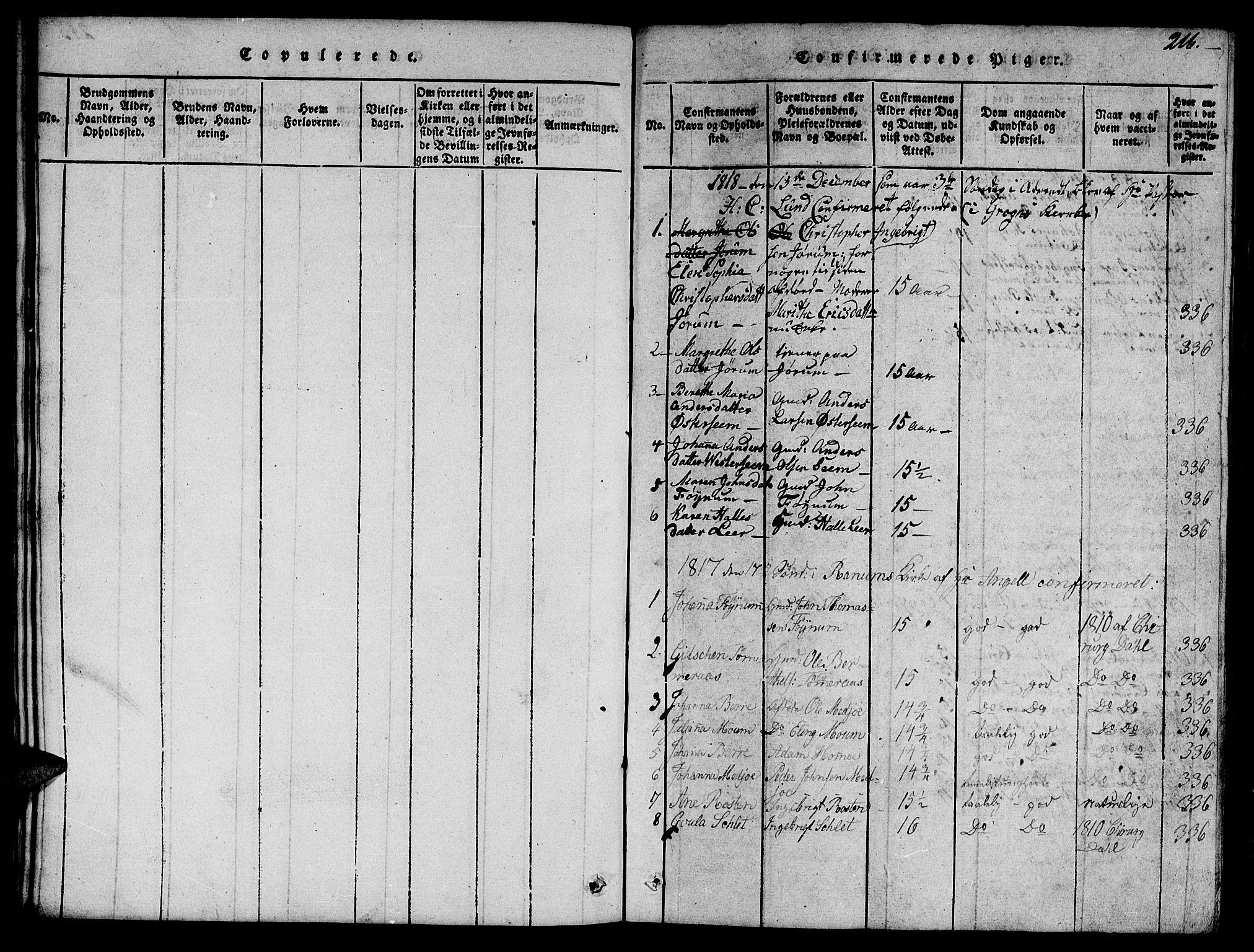 SAT, Ministerialprotokoller, klokkerbøker og fødselsregistre - Nord-Trøndelag, 758/L0521: Klokkerbok nr. 758C01, 1816-1825, s. 216