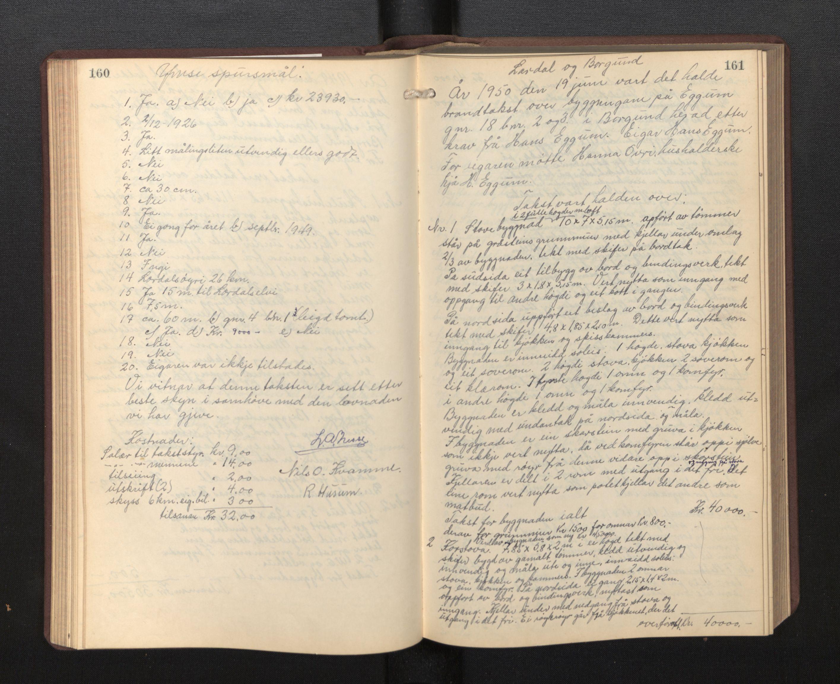 SAB, Lensmannen i Borgund, 0012/L0002: Branntakstprotokoll, 1929-1933, s. 160-161