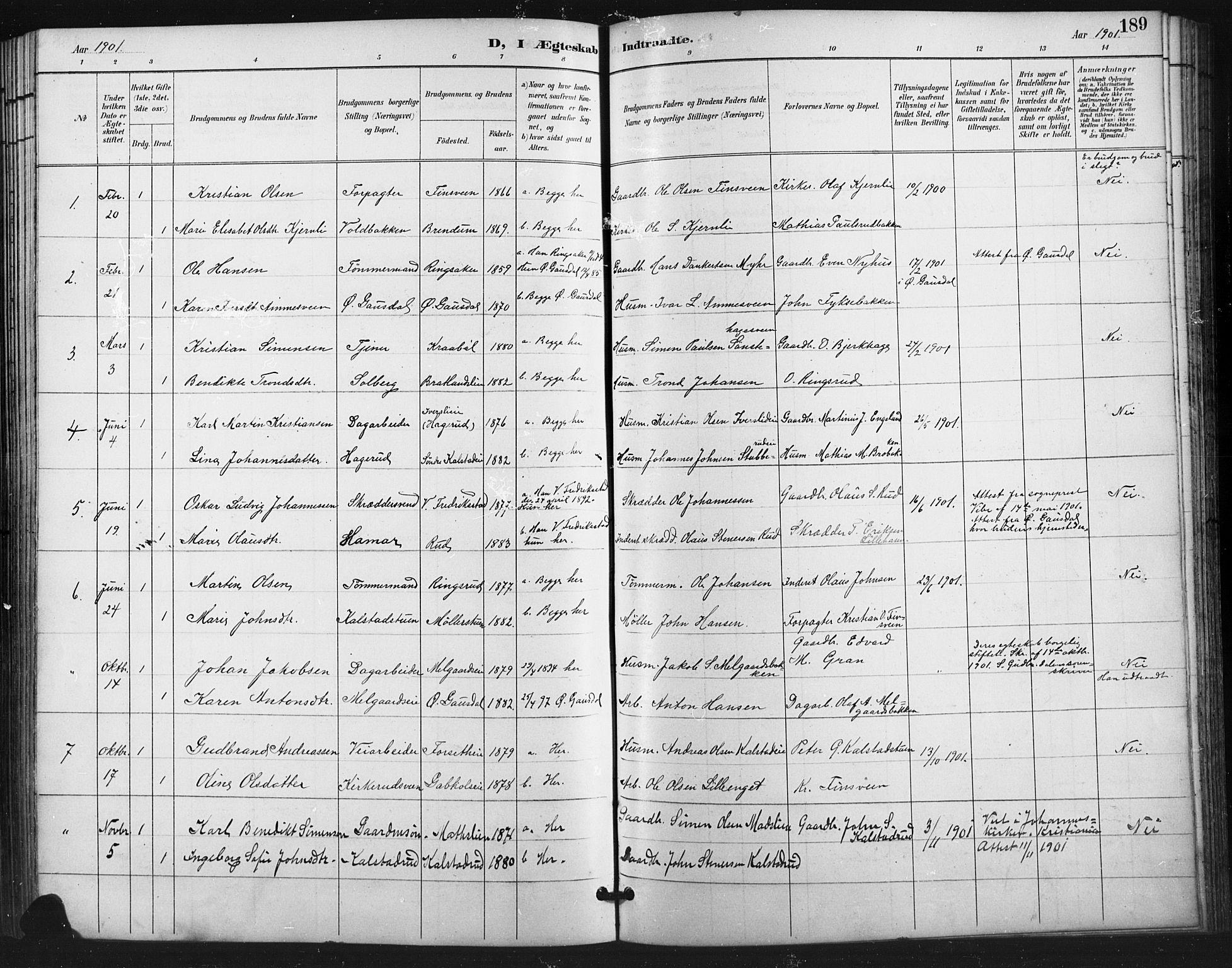 SAH, Vestre Gausdal prestekontor, Klokkerbok nr. 3, 1896-1925, s. 189