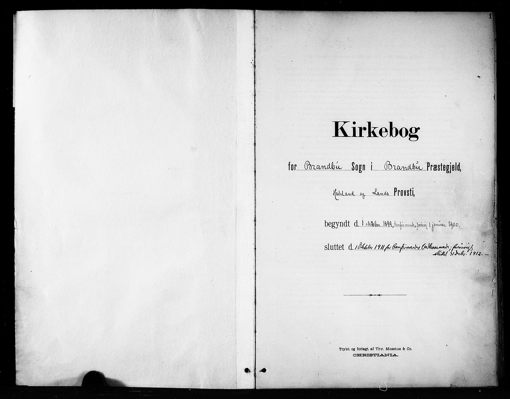 SAH, Brandbu prestekontor, Ministerialbok nr. 1, 1900-1912, s. 1