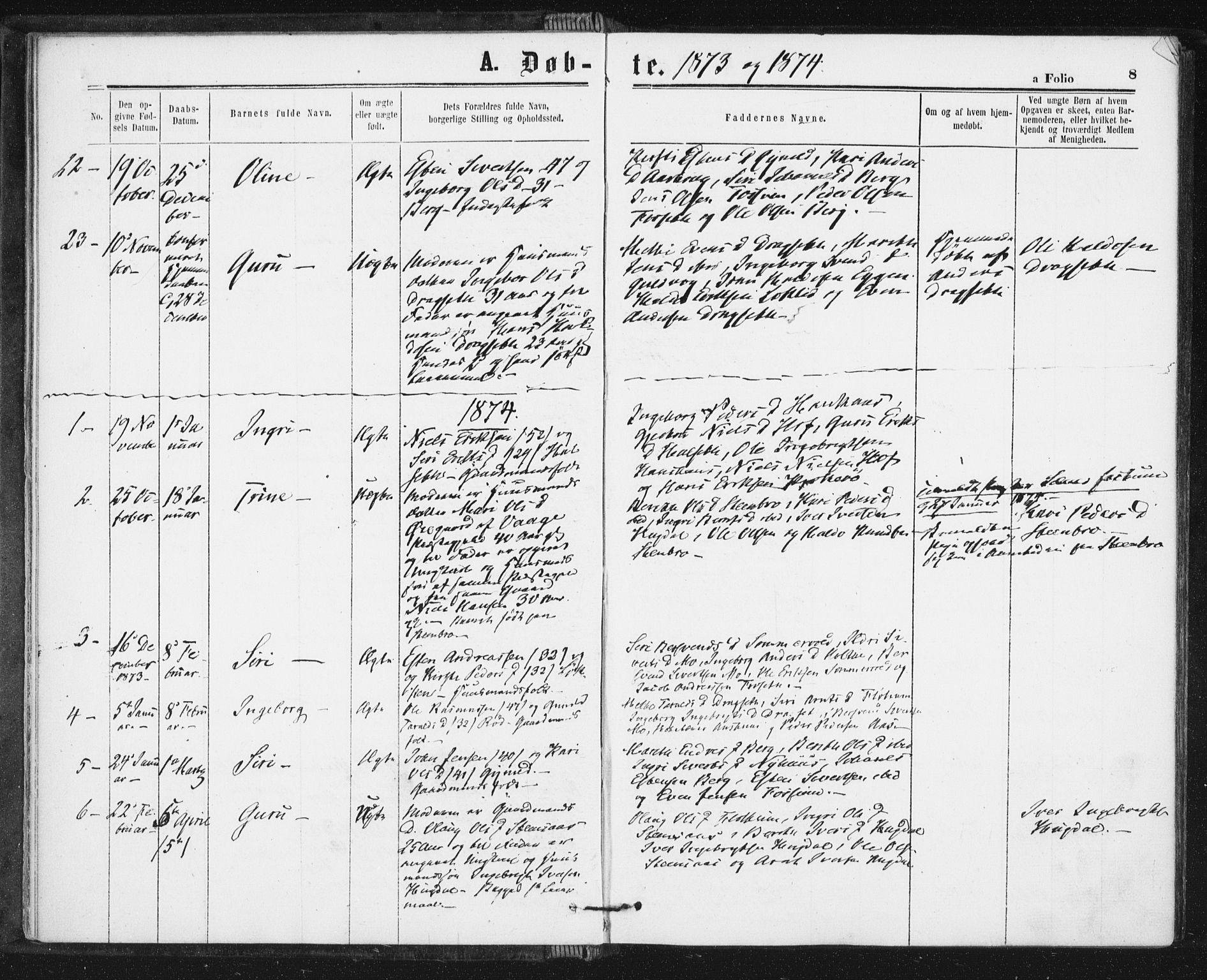 SAT, Ministerialprotokoller, klokkerbøker og fødselsregistre - Sør-Trøndelag, 689/L1039: Ministerialbok nr. 689A04, 1865-1878, s. 8