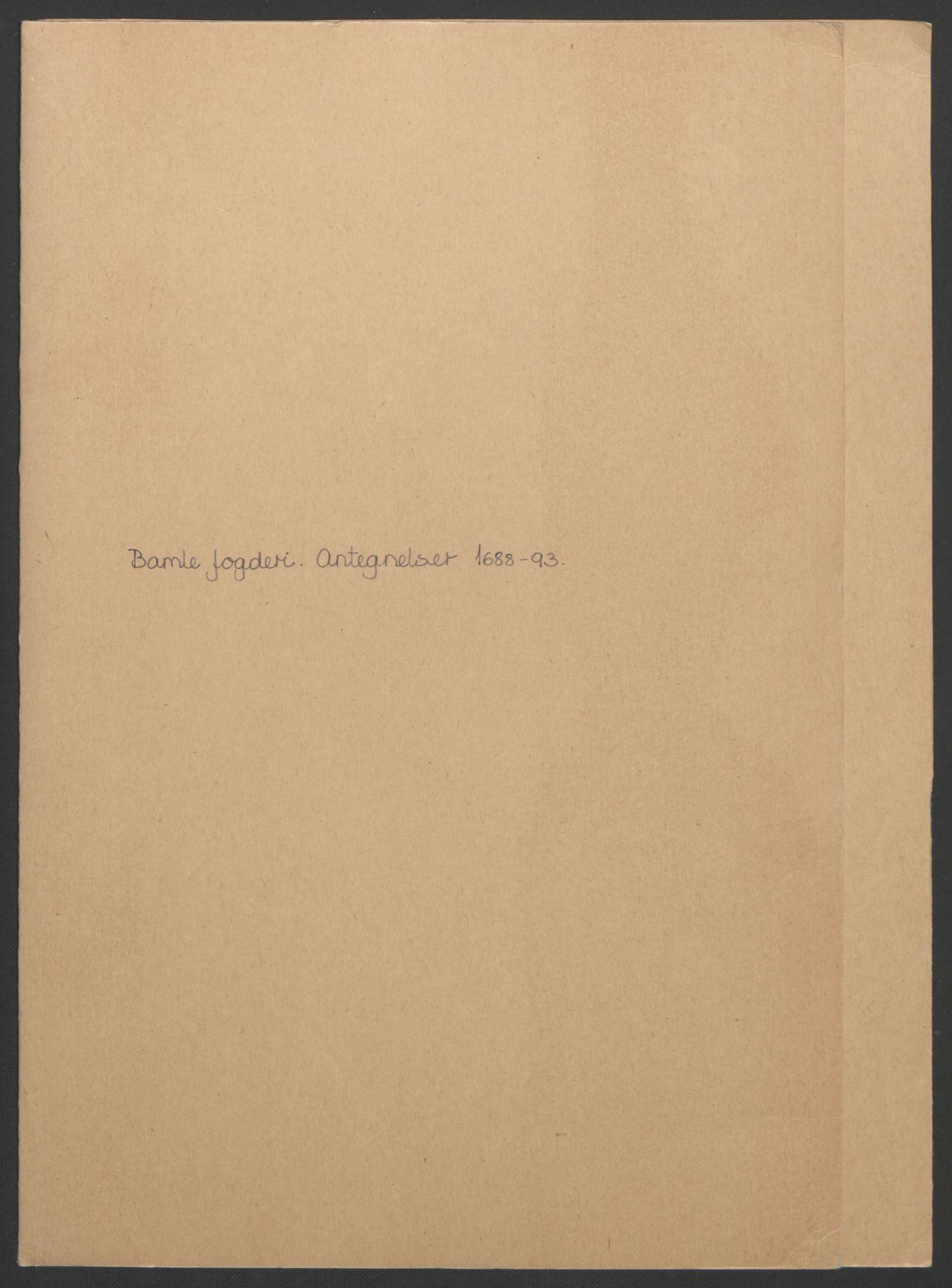 RA, Rentekammeret inntil 1814, Reviderte regnskaper, Fogderegnskap, R34/L2053: Fogderegnskap Bamble, 1693, s. 2