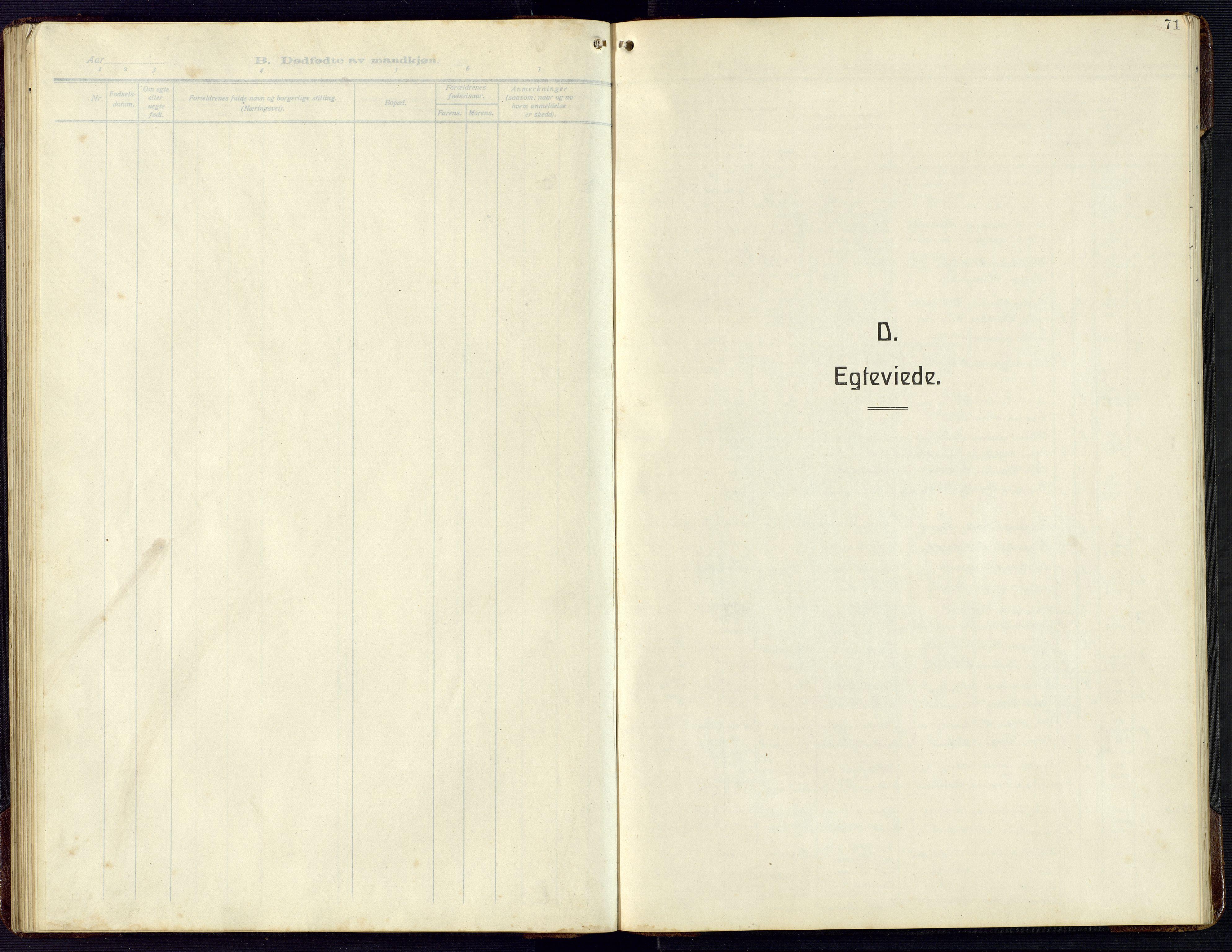 SAK, Herad sokneprestkontor, F/Fb/Fba/L0006: Klokkerbok nr. B 6, 1921-1959, s. 71