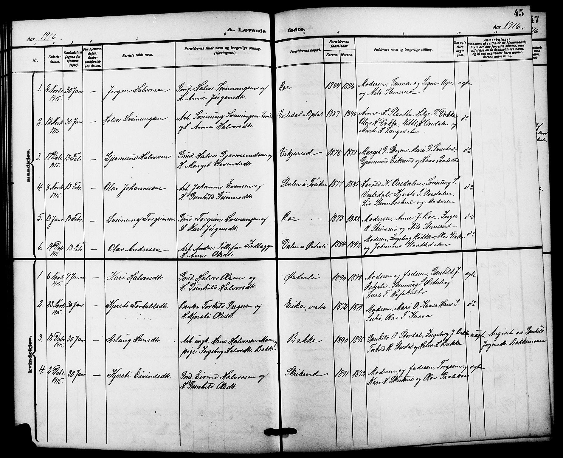 SAKO, Bø kirkebøker, G/Ga/L0007: Klokkerbok nr. 7, 1909-1924, s. 45