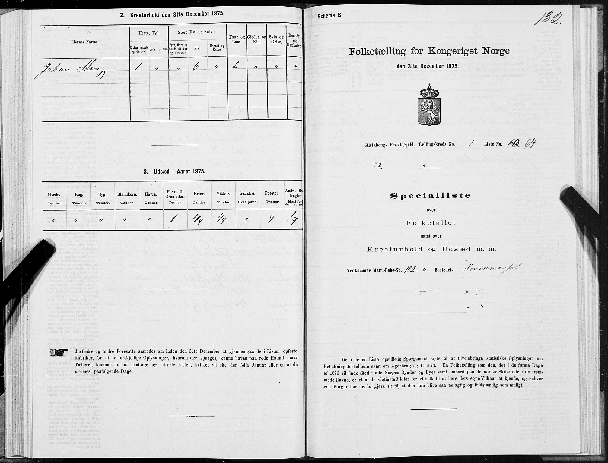 SAT, Folketelling 1875 for 1820P Alstahaug prestegjeld, 1875, s. 1132