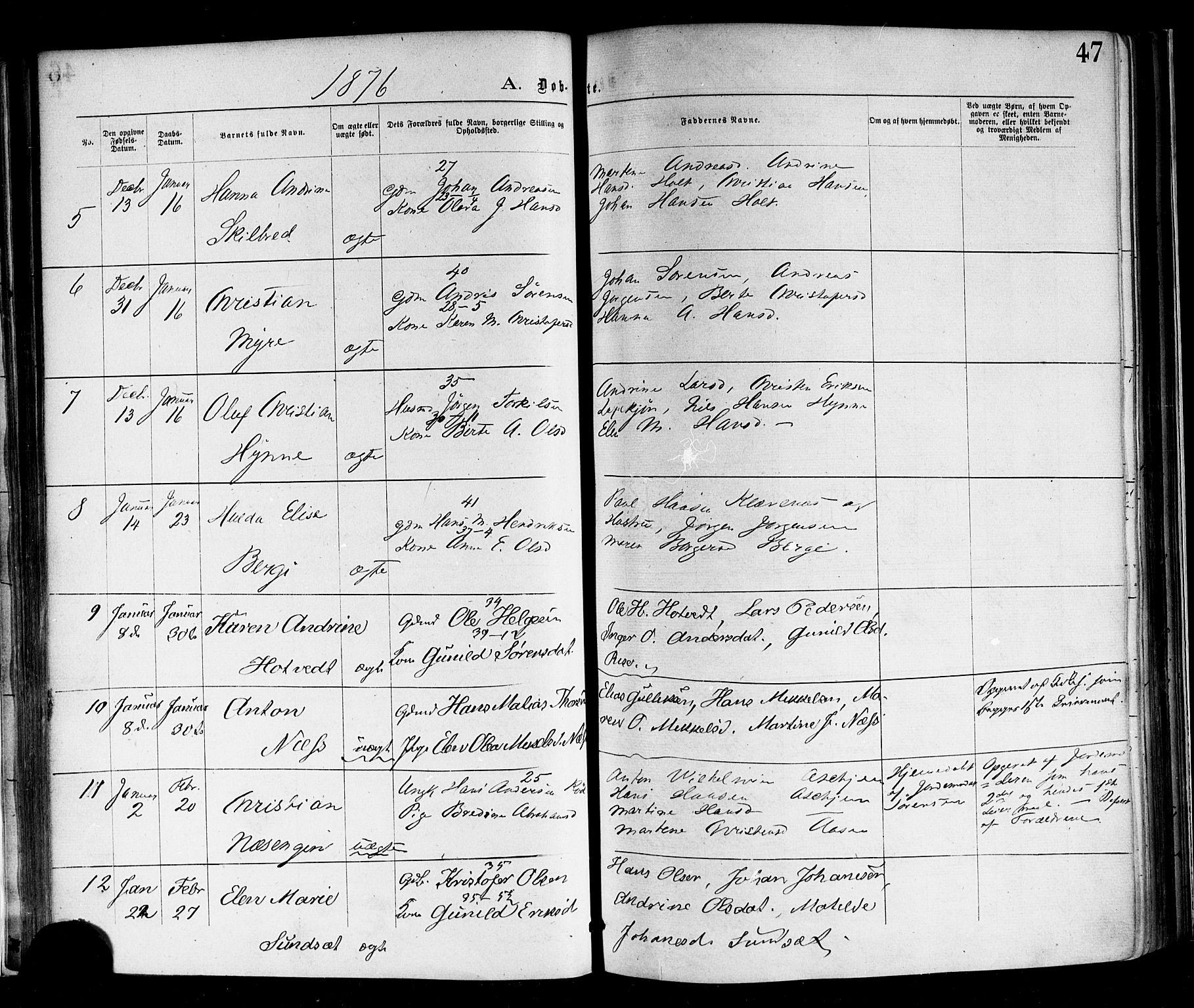 SAKO, Andebu kirkebøker, F/Fa/L0006: Ministerialbok nr. 6, 1871-1878, s. 47