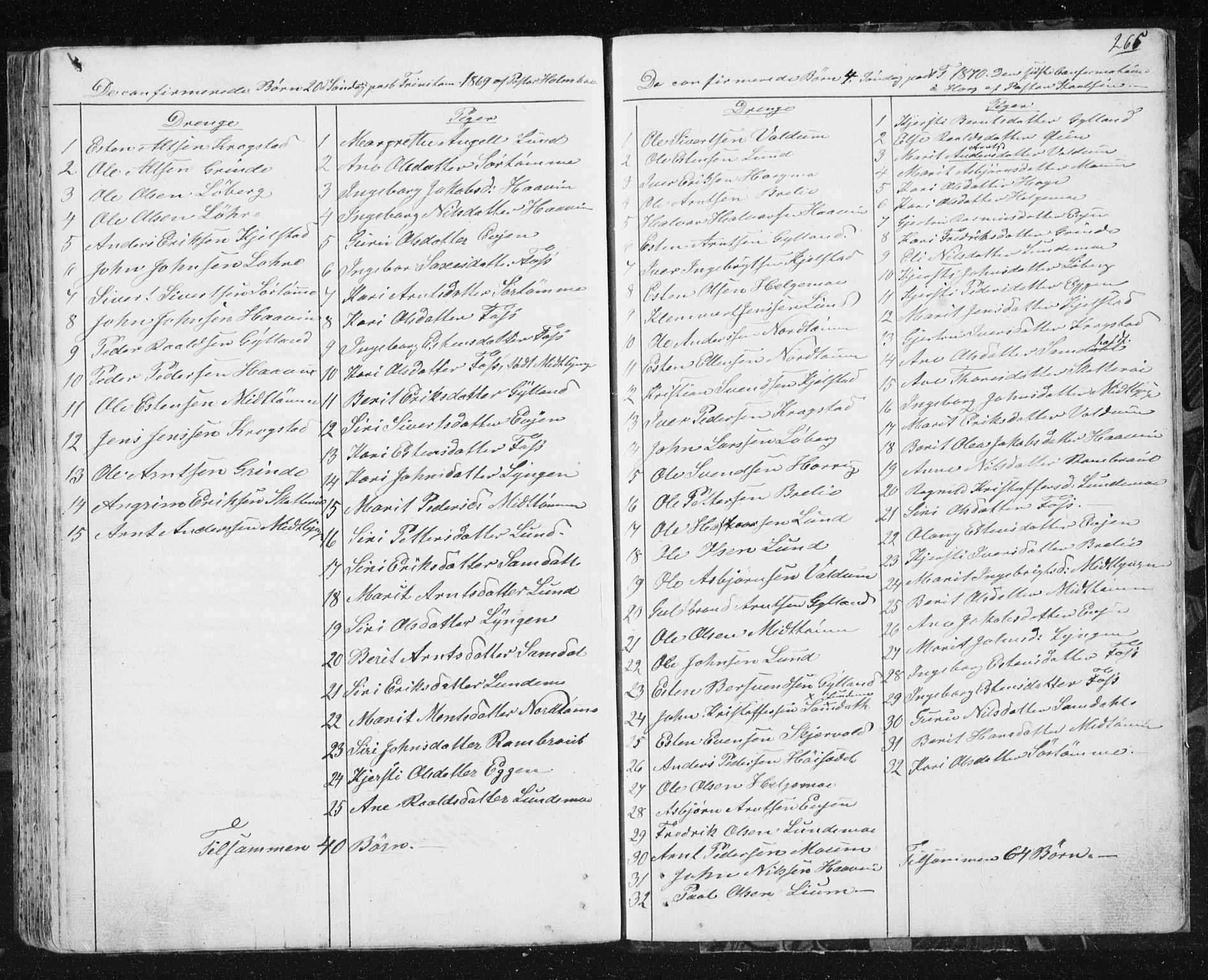 SAT, Ministerialprotokoller, klokkerbøker og fødselsregistre - Sør-Trøndelag, 692/L1110: Klokkerbok nr. 692C05, 1849-1889, s. 265