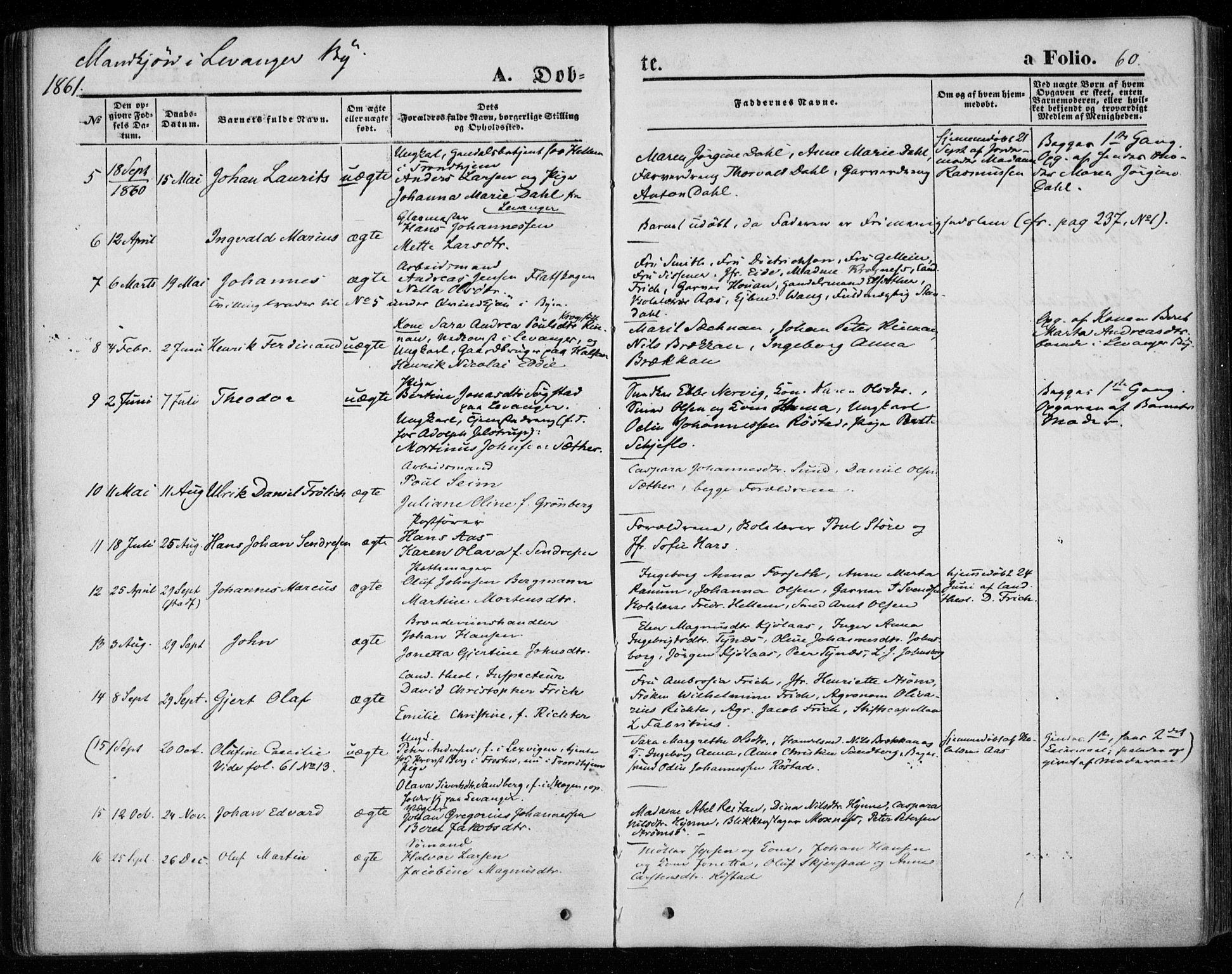 SAT, Ministerialprotokoller, klokkerbøker og fødselsregistre - Nord-Trøndelag, 720/L0184: Ministerialbok nr. 720A02 /1, 1855-1863, s. 60