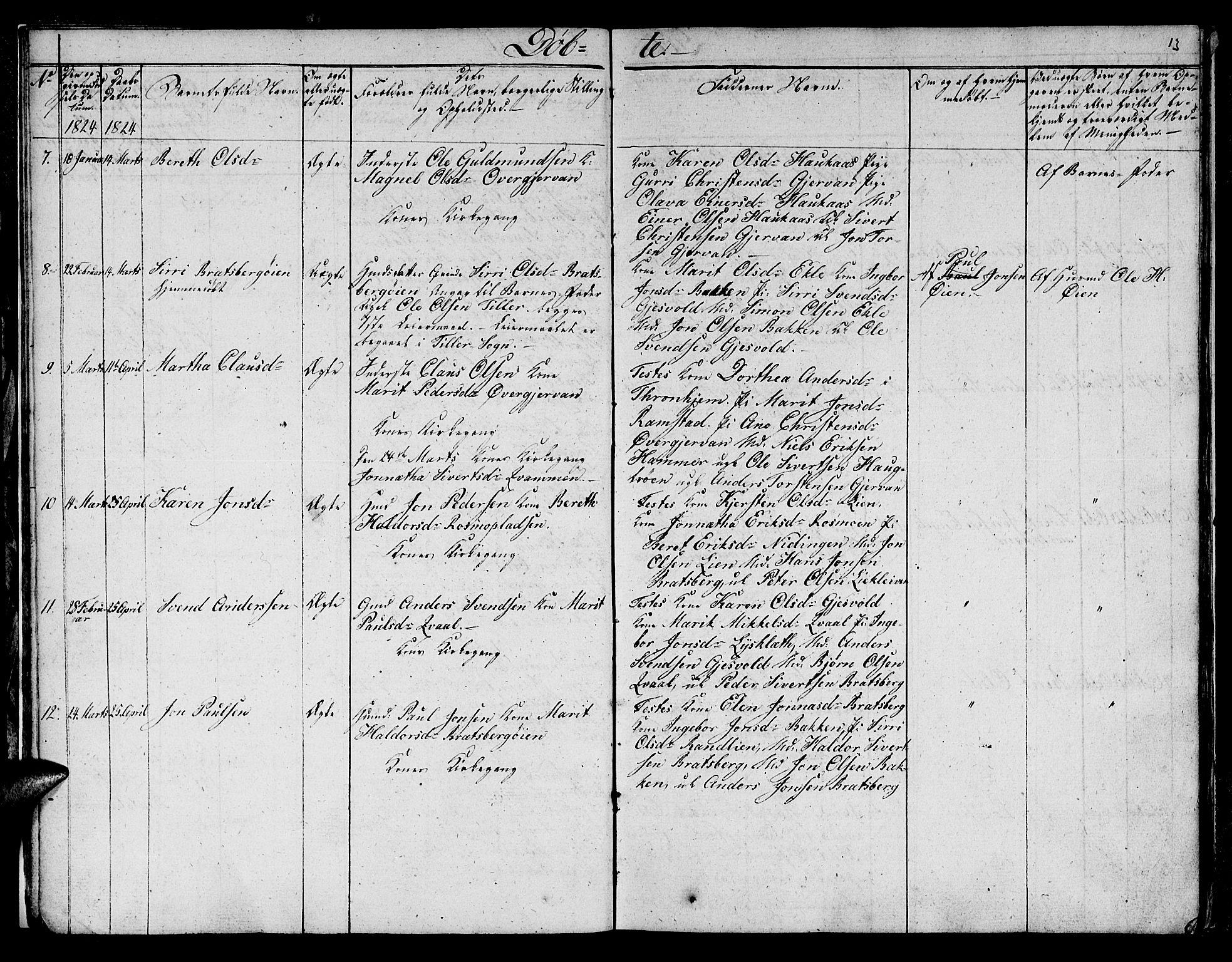 SAT, Ministerialprotokoller, klokkerbøker og fødselsregistre - Sør-Trøndelag, 608/L0337: Klokkerbok nr. 608C03, 1821-1831, s. 13