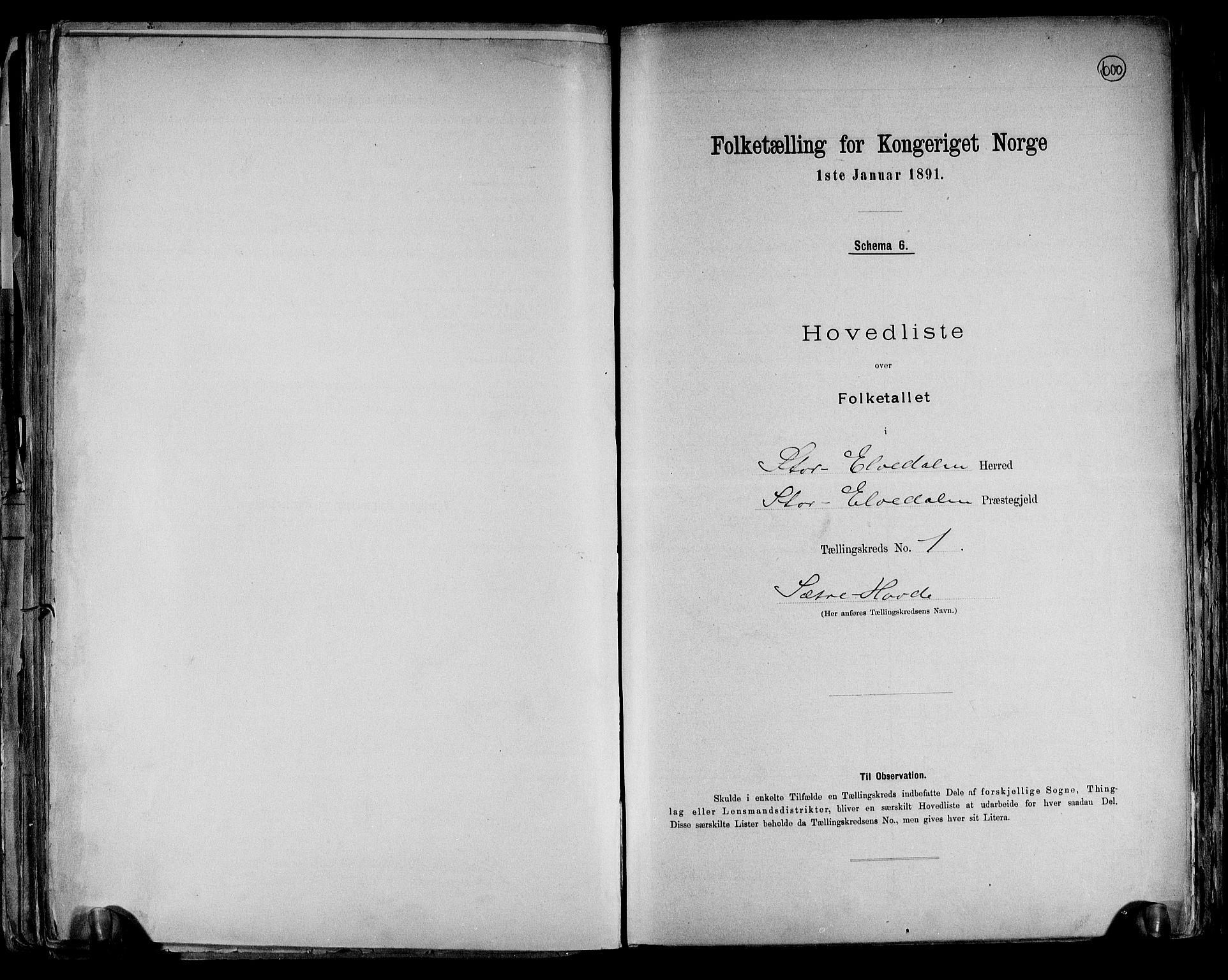 RA, Folketelling 1891 for 0430 Stor-Elvdal herred, 1891, s. 4