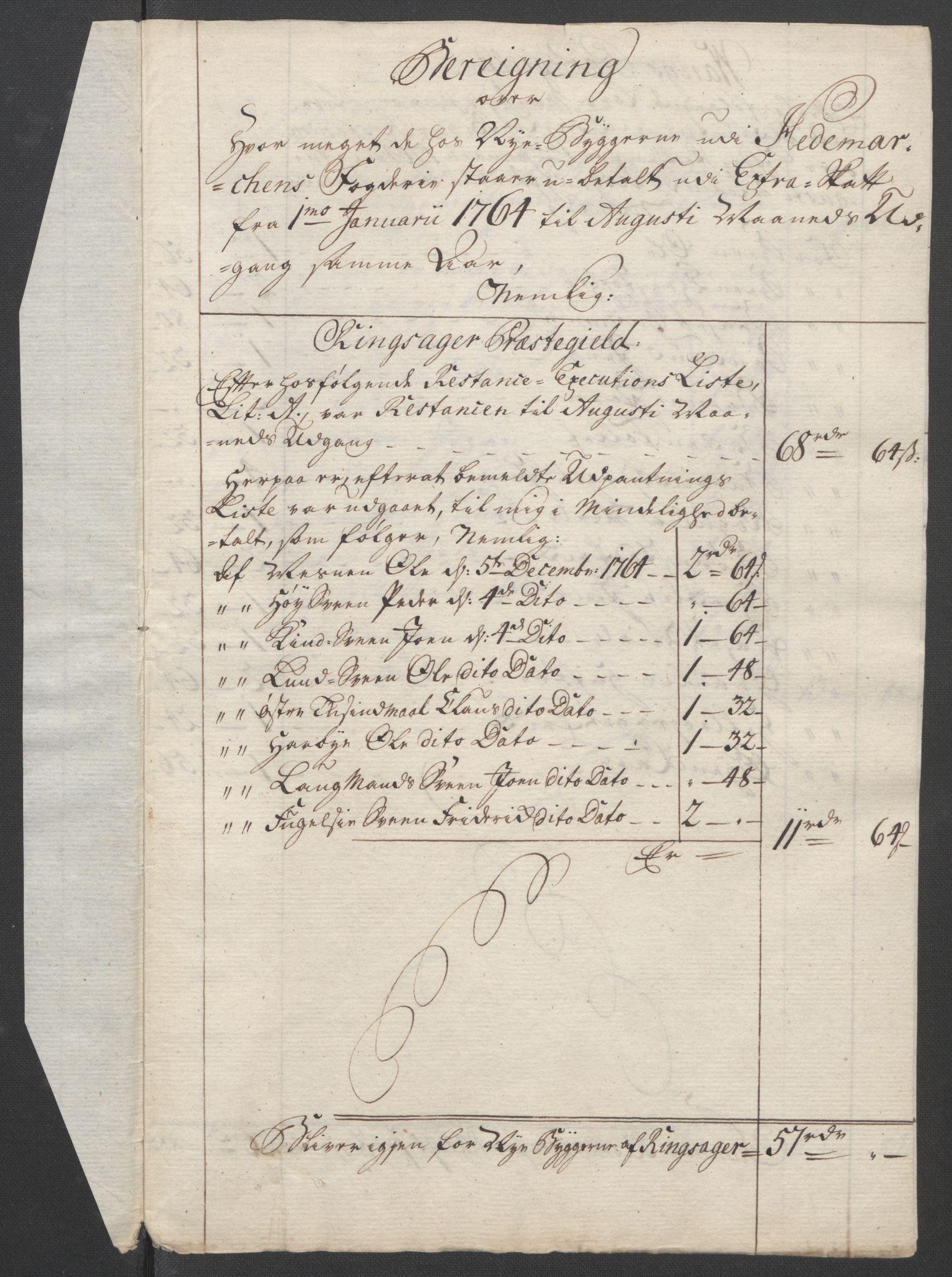 RA, Rentekammeret inntil 1814, Reviderte regnskaper, Fogderegnskap, R16/L1148: Ekstraskatten Hedmark, 1764, s. 327