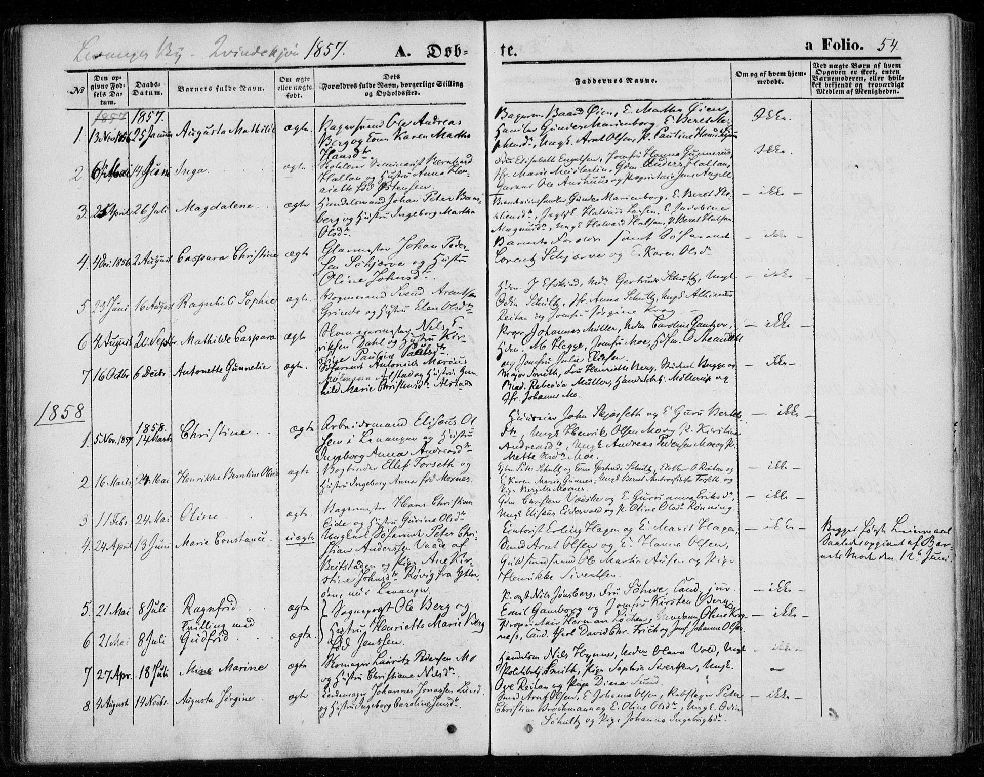 SAT, Ministerialprotokoller, klokkerbøker og fødselsregistre - Nord-Trøndelag, 720/L0184: Ministerialbok nr. 720A02 /1, 1855-1863, s. 54
